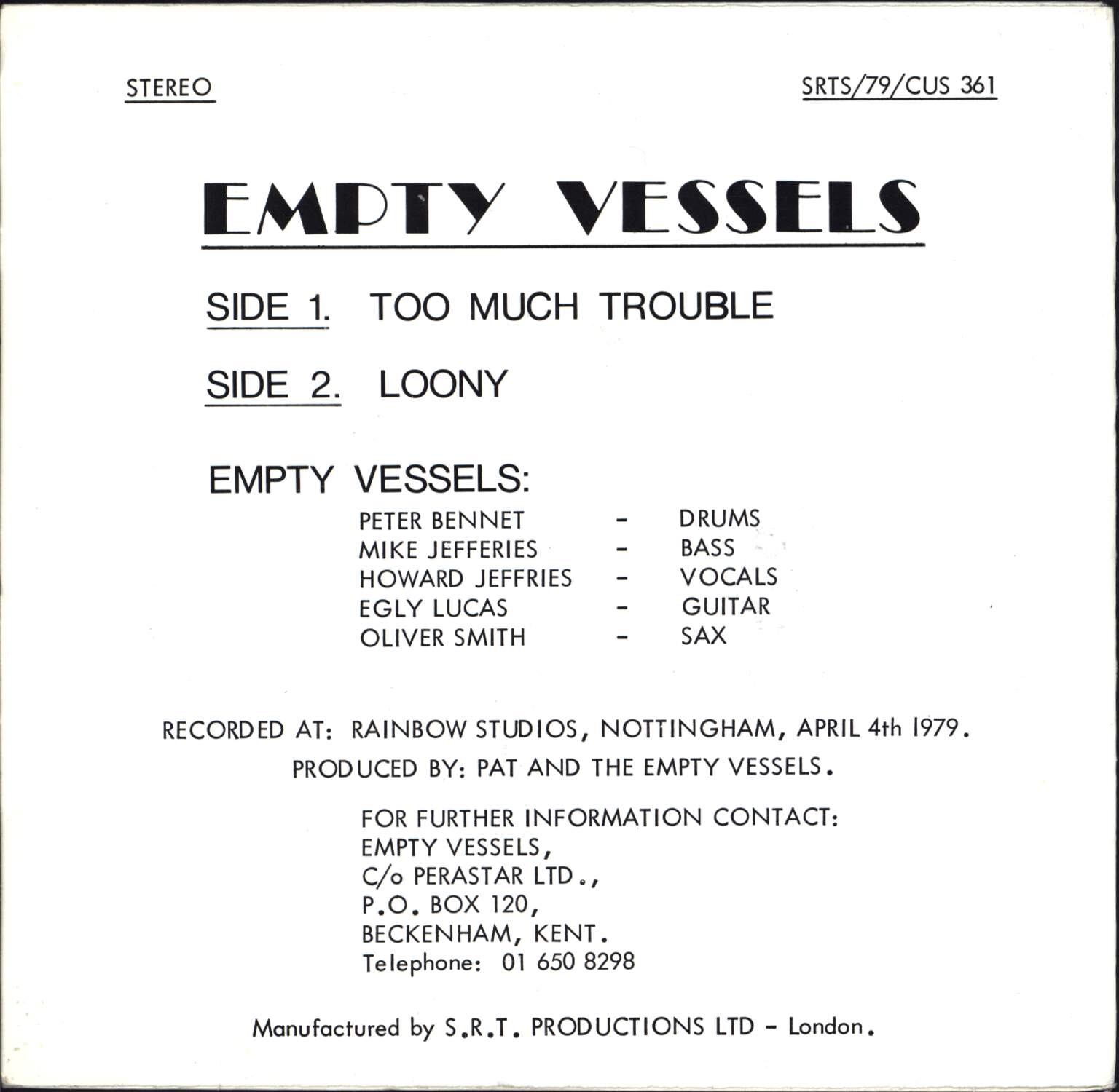 "Empty Vessels: Too Much Trouble, 7"" Single (Vinyl)"