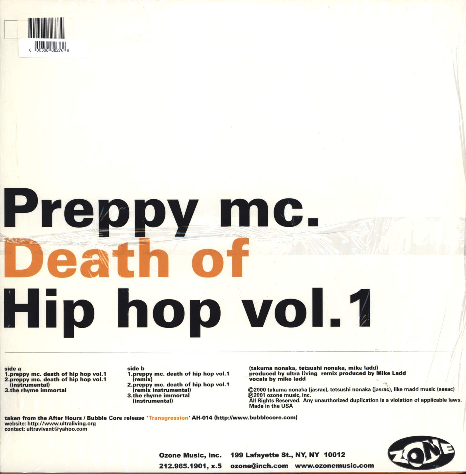 "Ultra Living: Preppy MC. Death Of Hip Hop Vol. 1, 12"" Maxi Single (Vinyl)"