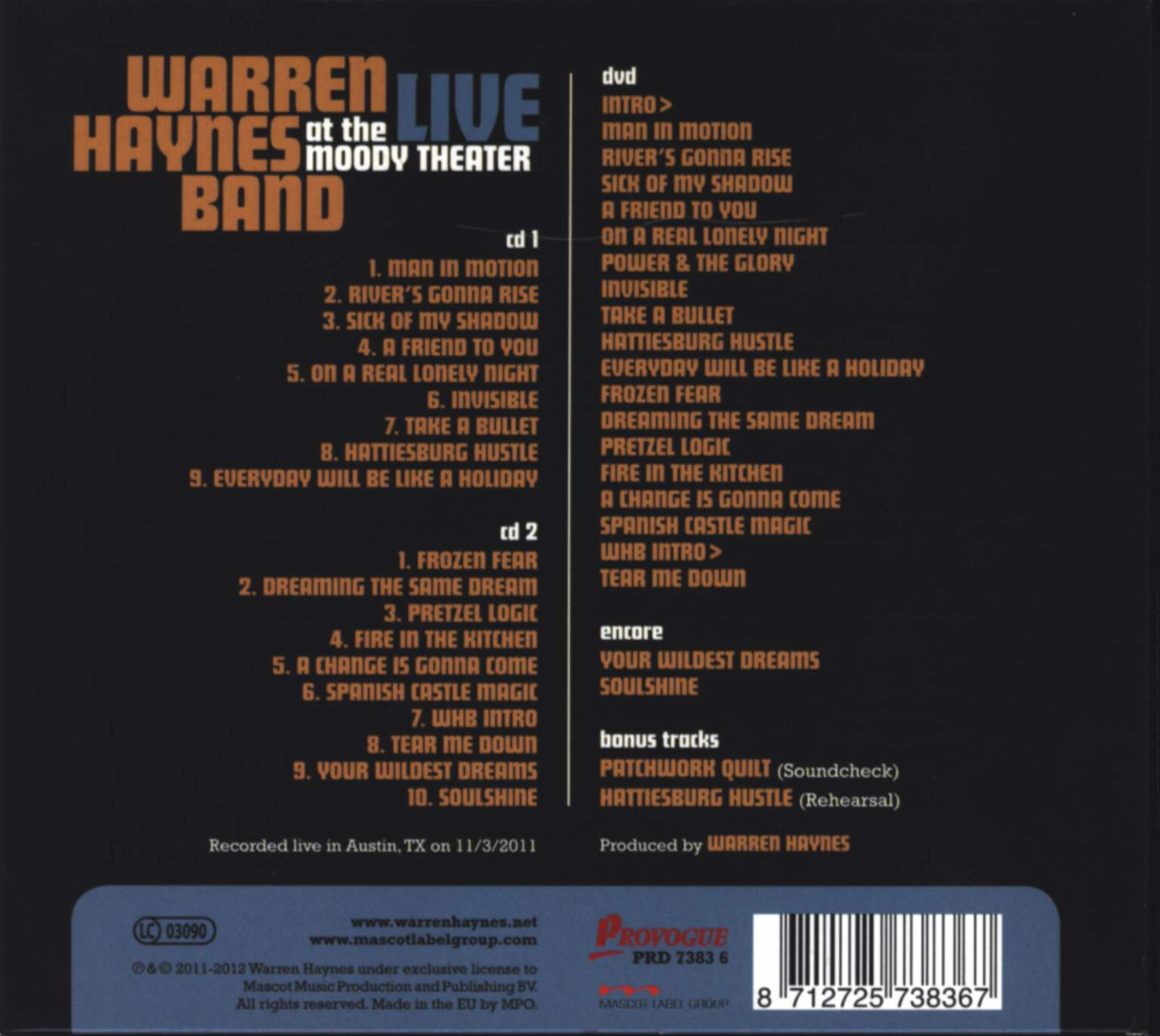 Warren Haynes Band: Live At The Moody Theater, CD