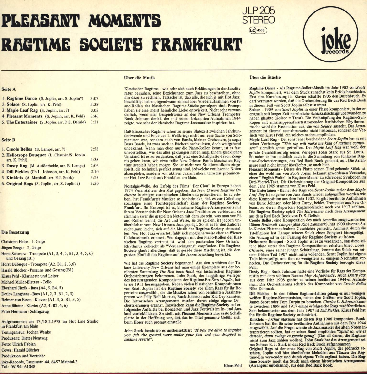 Ragtime Society Frankfurt: Pleasant Moments, LP (Vinyl)