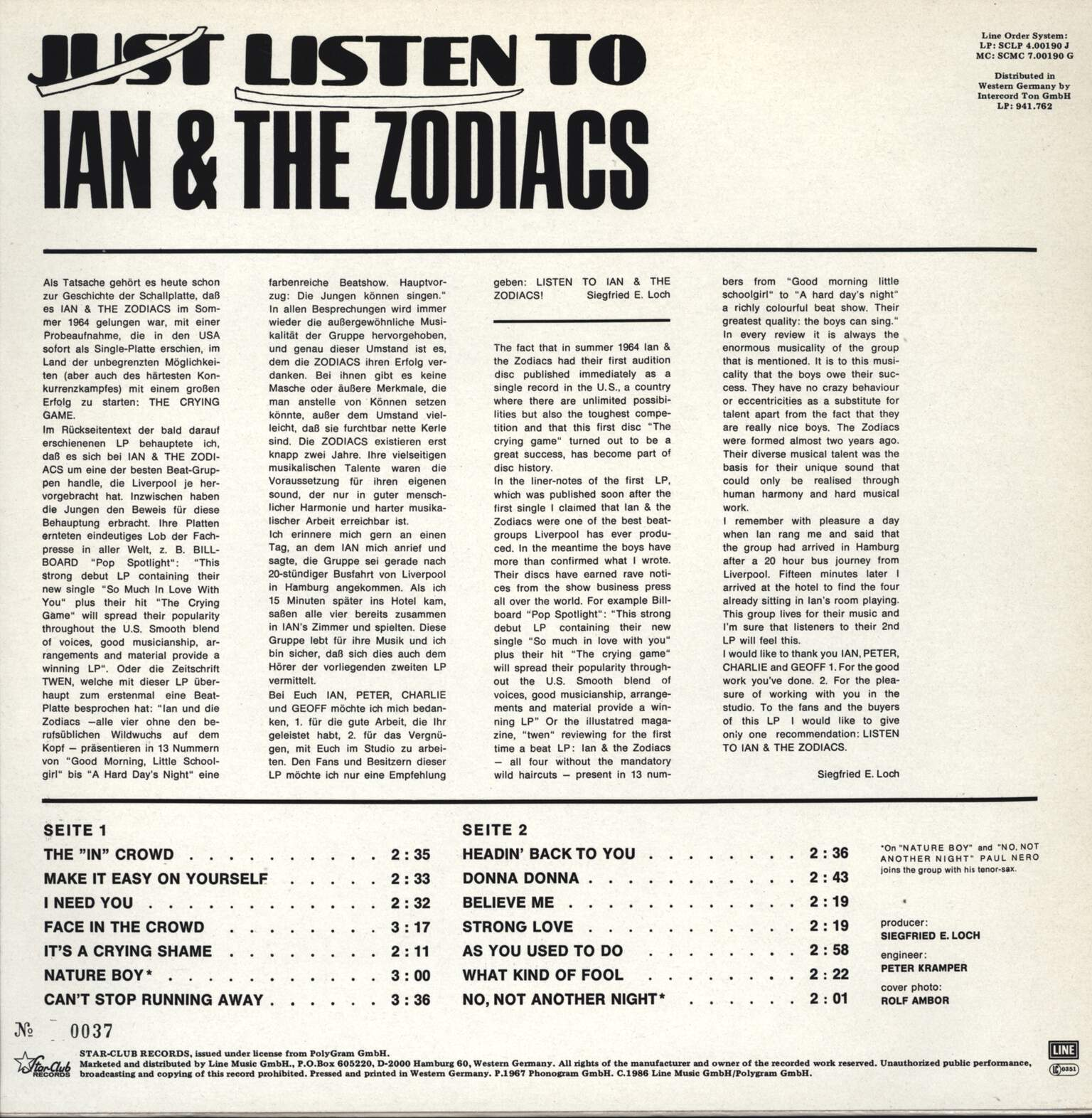 Ian & The Zodiacs: Listen To Ian & The Zodiacs, LP (Vinyl)