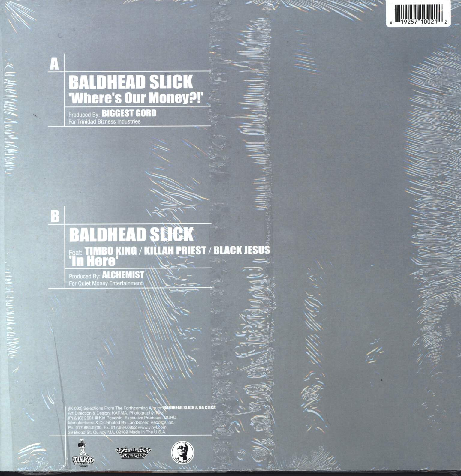 "Baldhead Slick & Da Click: Where's Our Money?! / In Here, 12"" Maxi Single (Vinyl)"