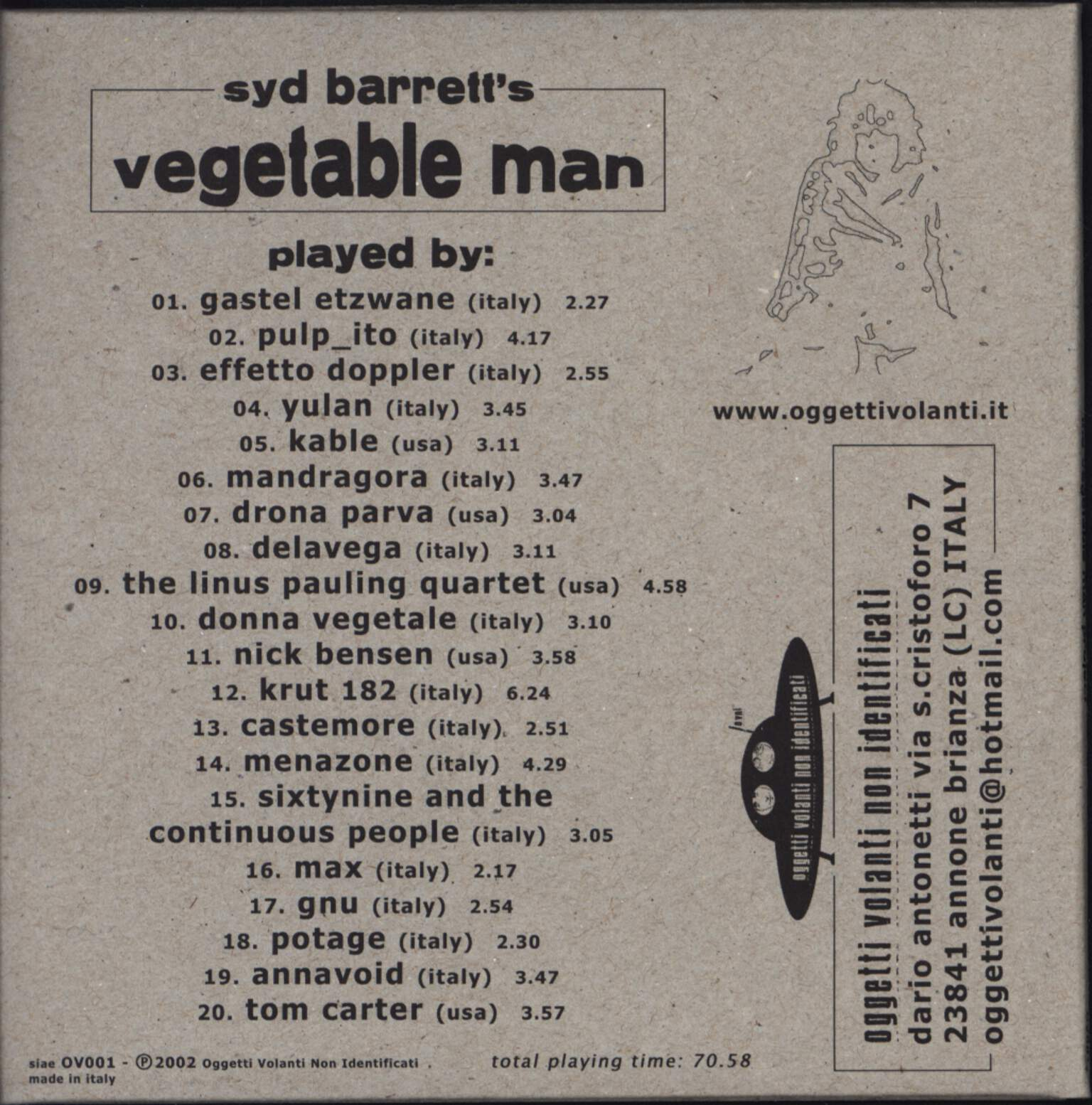 Various: The Vegetable Man Project Vol. 1, CD