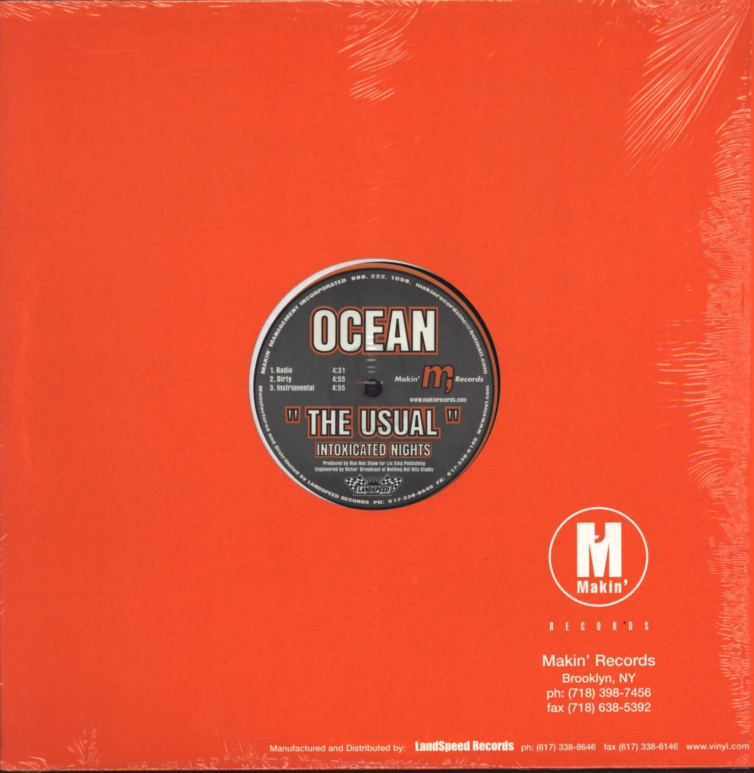 "Ocean: The Usual (Intoxicated Nights) / The Usual (Sober Nights), 12"" Maxi Single (Vinyl)"