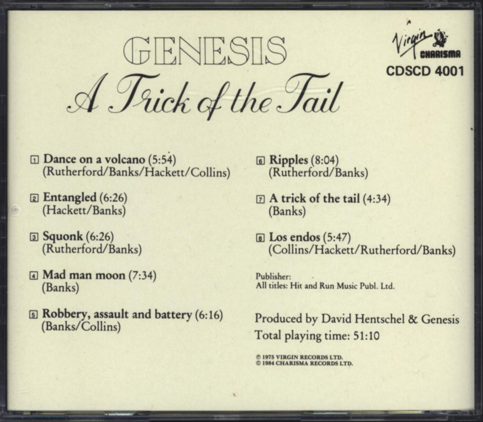 Genesis: A Trick Of The Tail, CD