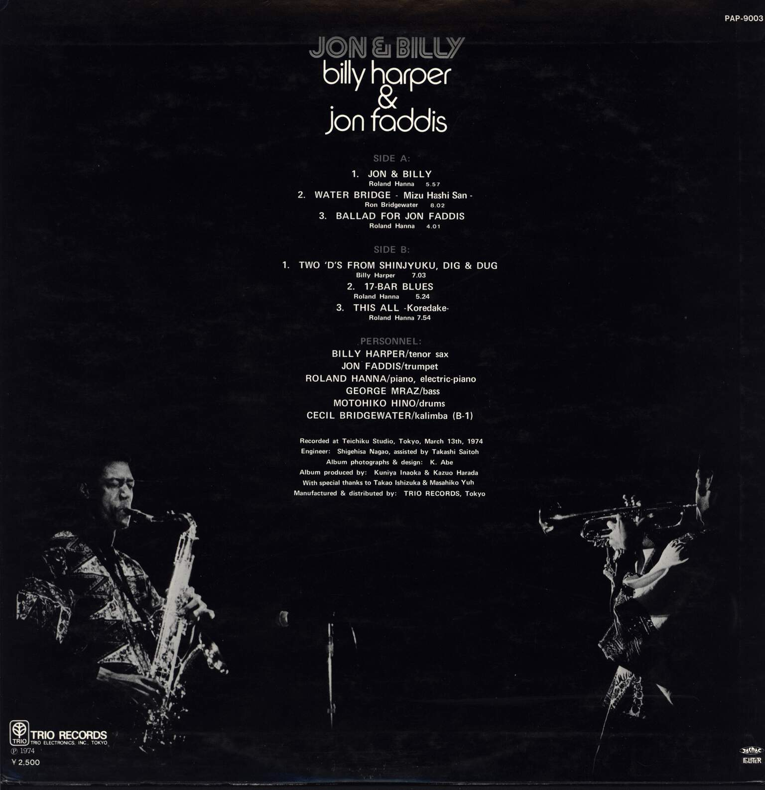 Billy Harper: Jon & Billy, LP (Vinyl)