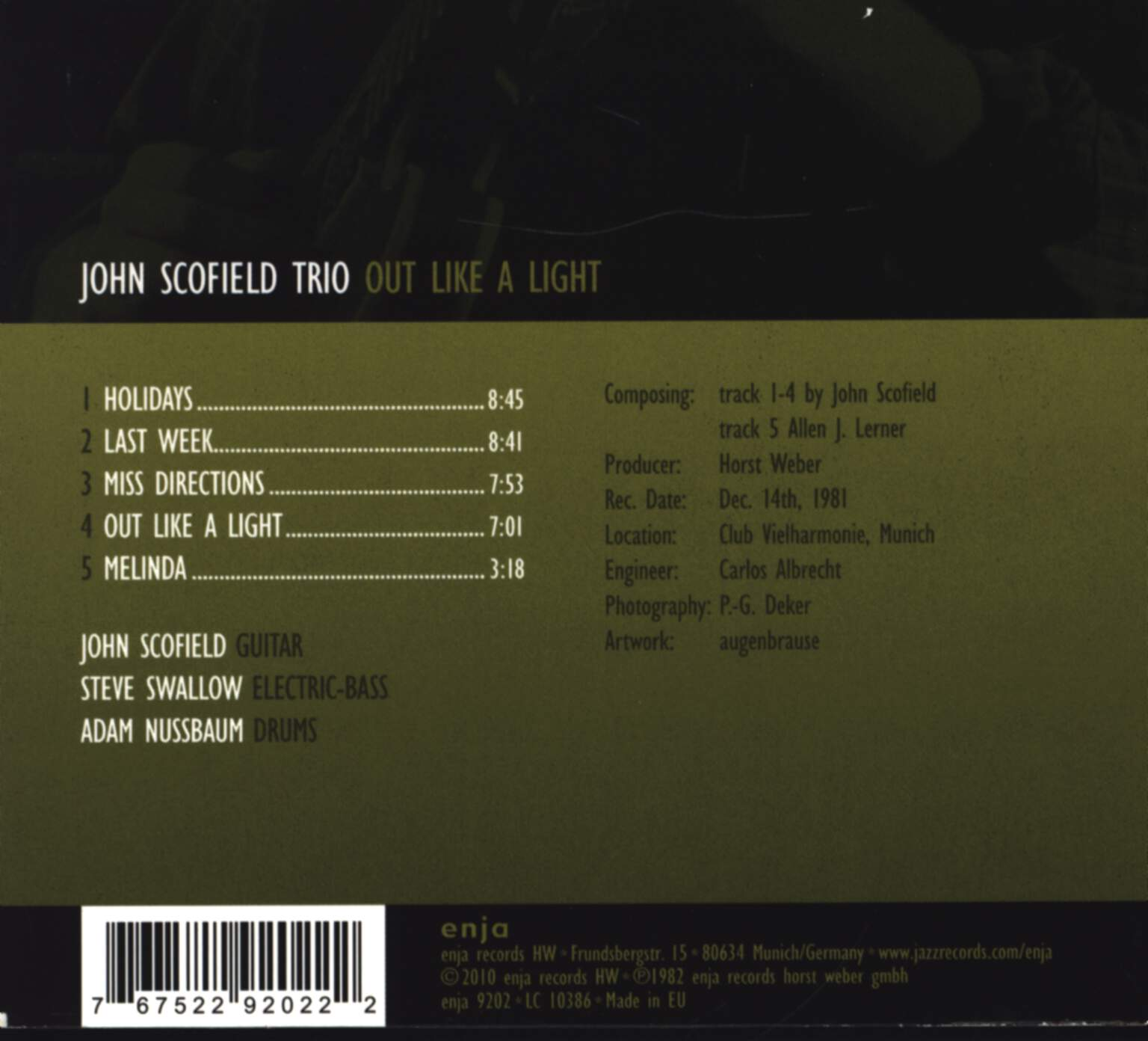 John Scofield Trio: Out Like A Light, CD