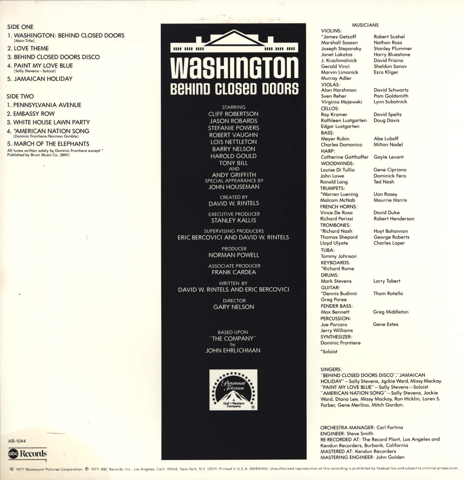 Dominic Frontiere: Washington: Behind Closed Doors (Original Music From), LP (Vinyl)