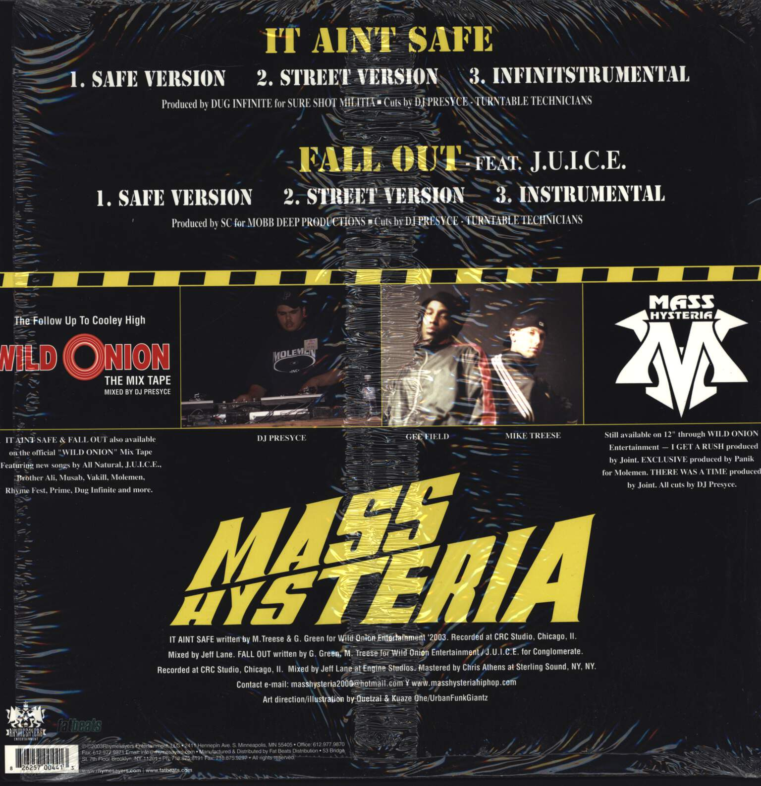 "Mass Hysteria: It Aint Safe / Fall Out, 12"" Maxi Single (Vinyl)"