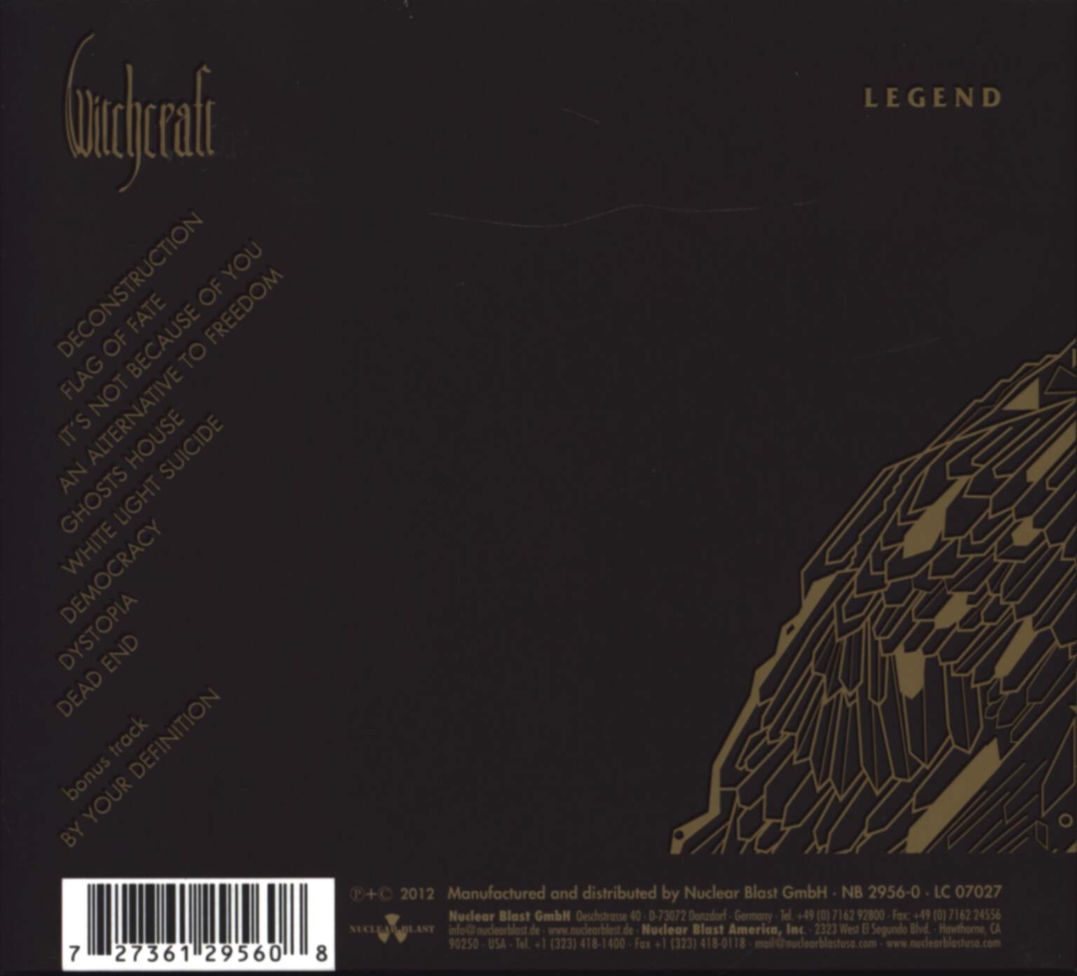 Witchcraft: Legend, CD