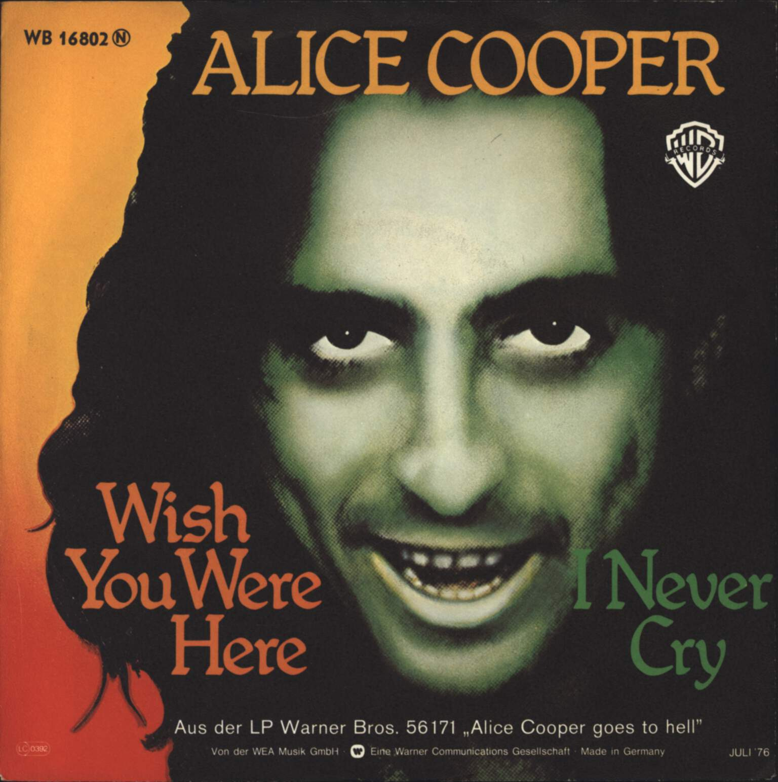 "Alice Cooper: Wish You Were Here, 7"" Single (Vinyl)"