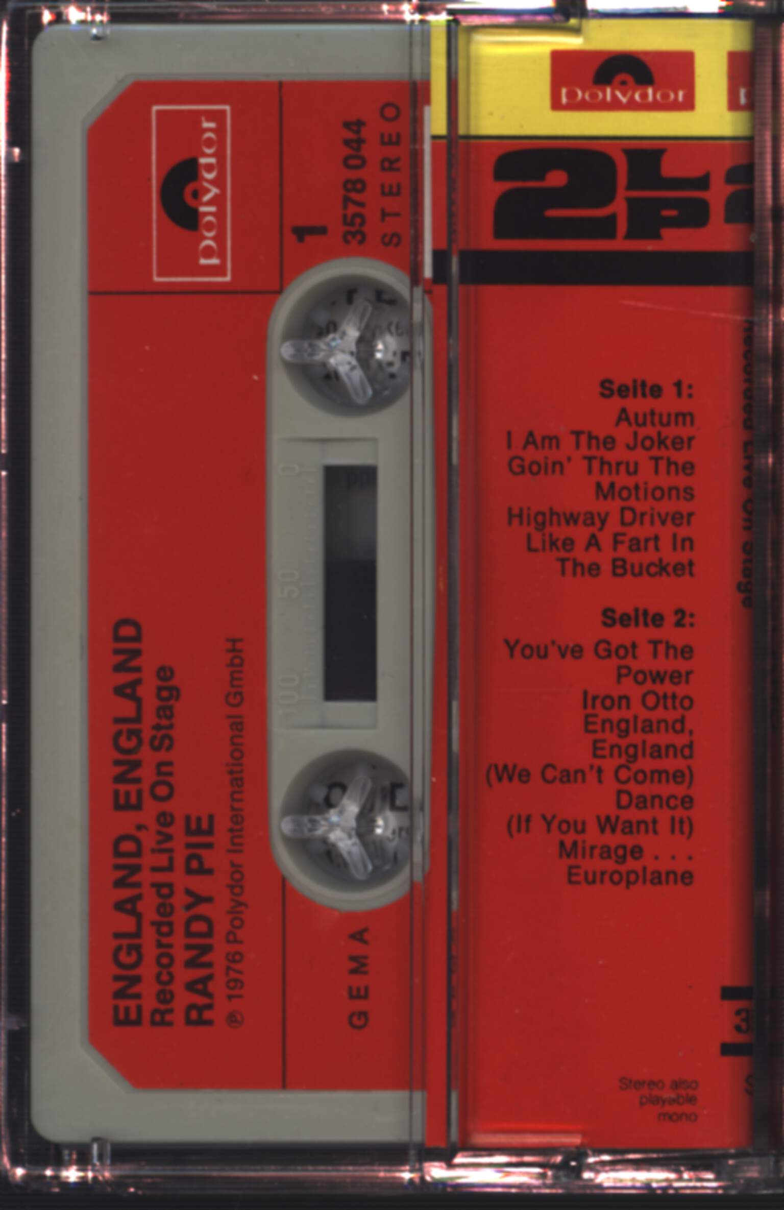Randy Pie: England, England (Recorded Live On Stage), Compact Cassette