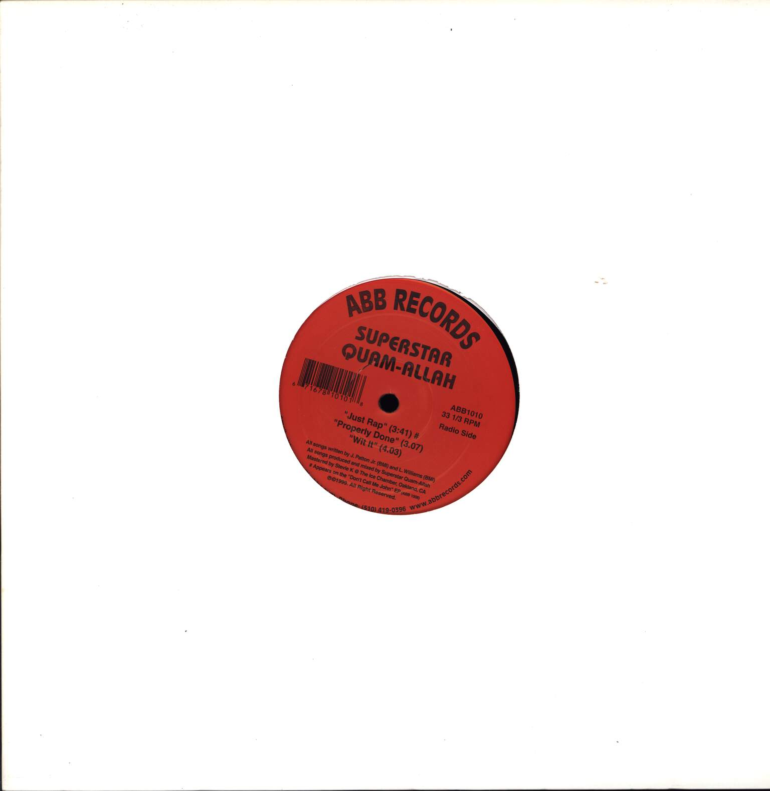 "Superstar Quamallah: Just Rap / Properly Done / Wit It, 12"" Maxi Single (Vinyl)"