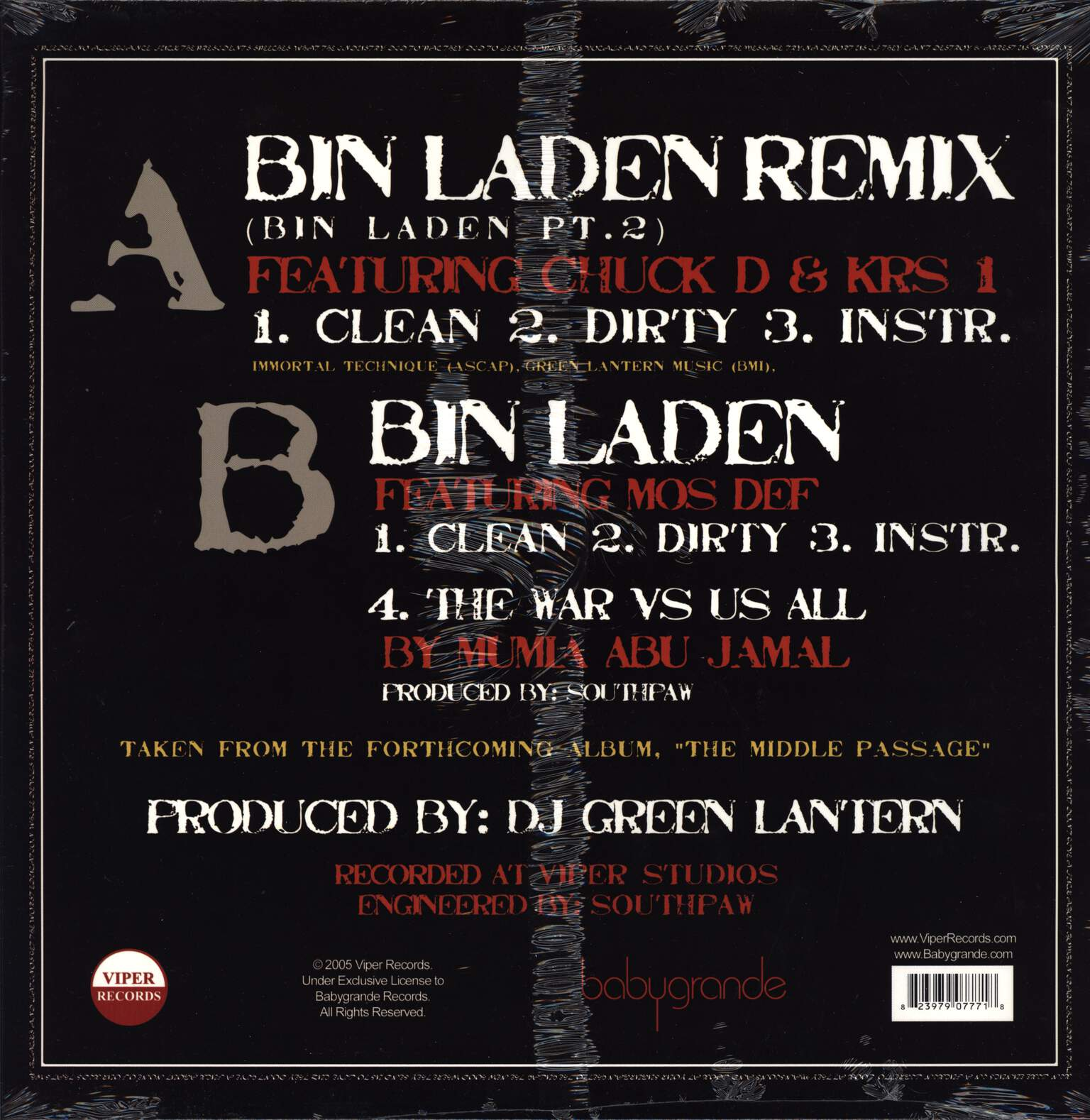 "Immortal Technique: Bin Laden Remix (Bin Laden Pt. 2), 12"" Maxi Single (Vinyl)"