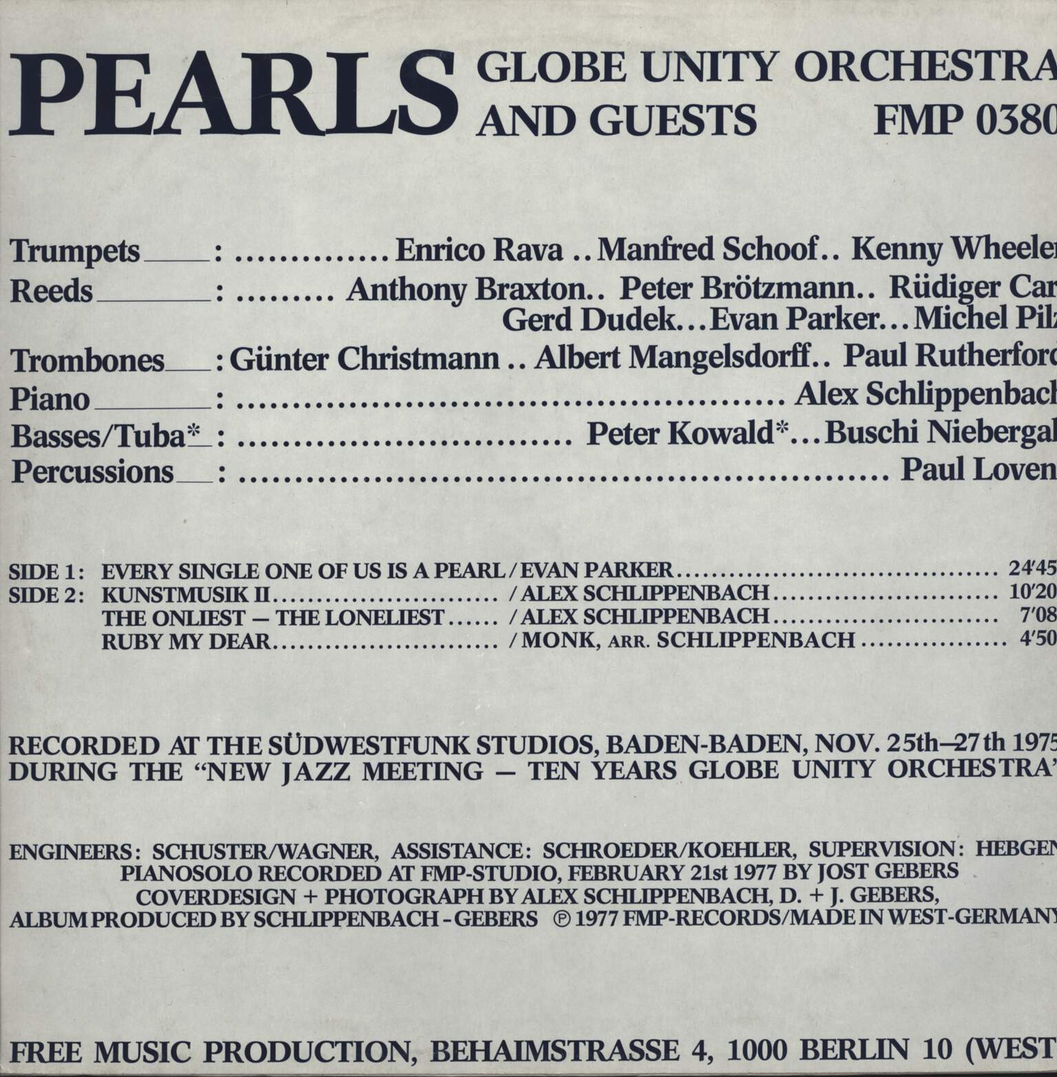 Globe Unity Orchestra And Guests: Pearls, LP (Vinyl)