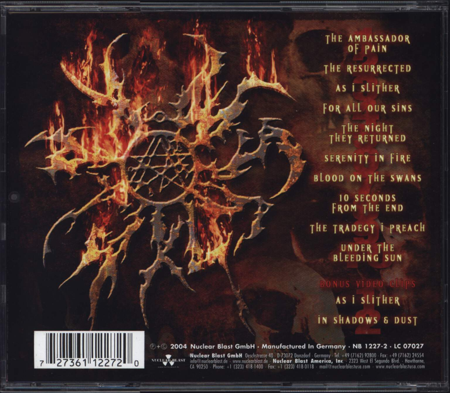 Kataklysm: Serenity In Fire, CD