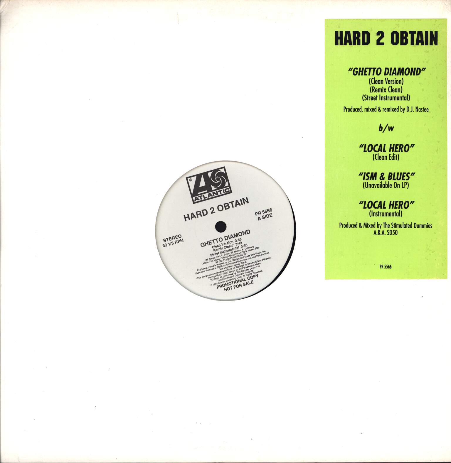 "Hard 2 Obtain: Ghetto Diamond / Local Hero / Ism & Blues, 12"" Maxi Single (Vinyl)"