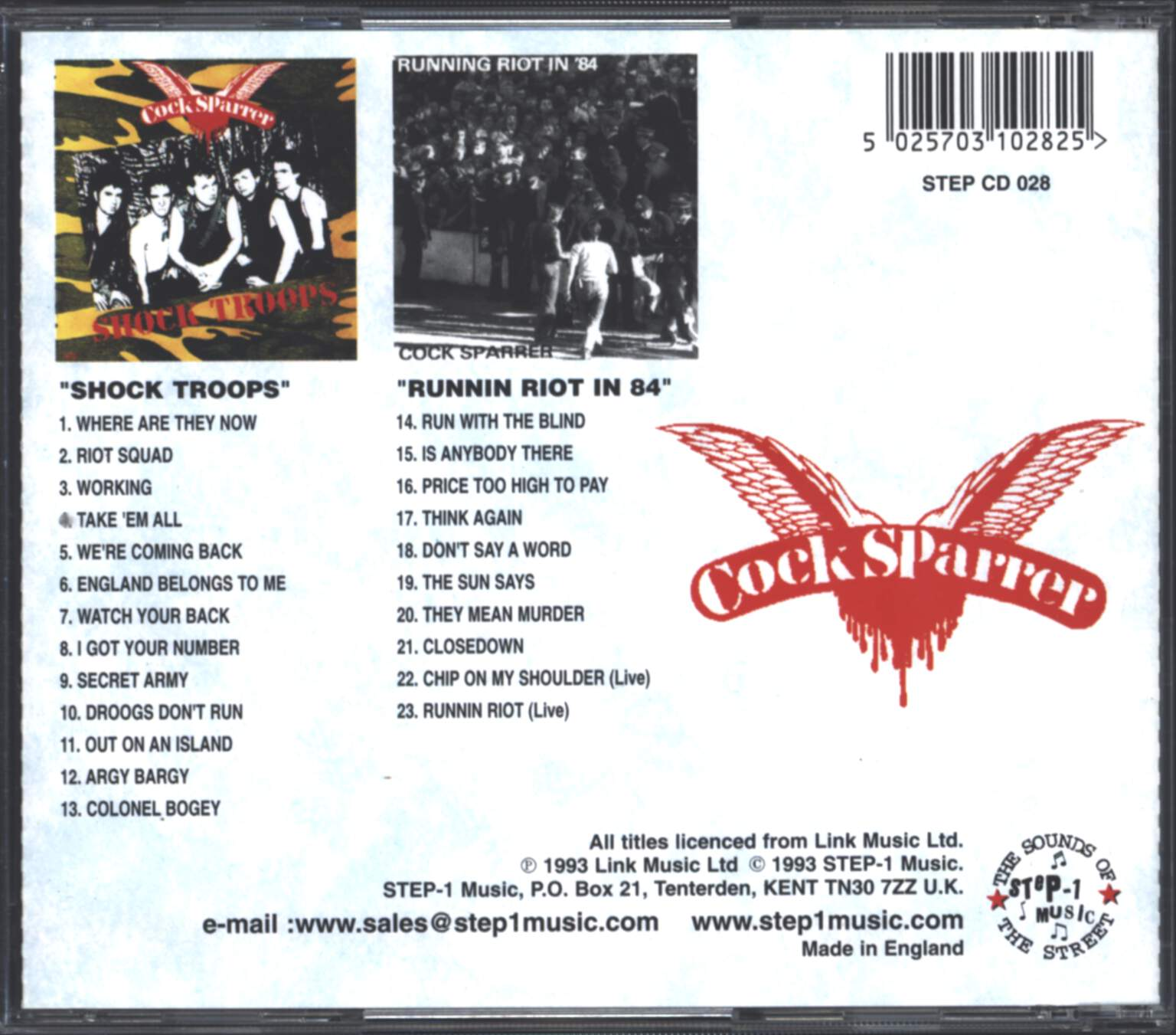 Cock Sparrer: Shock Troops / Running Riot In '84, CD