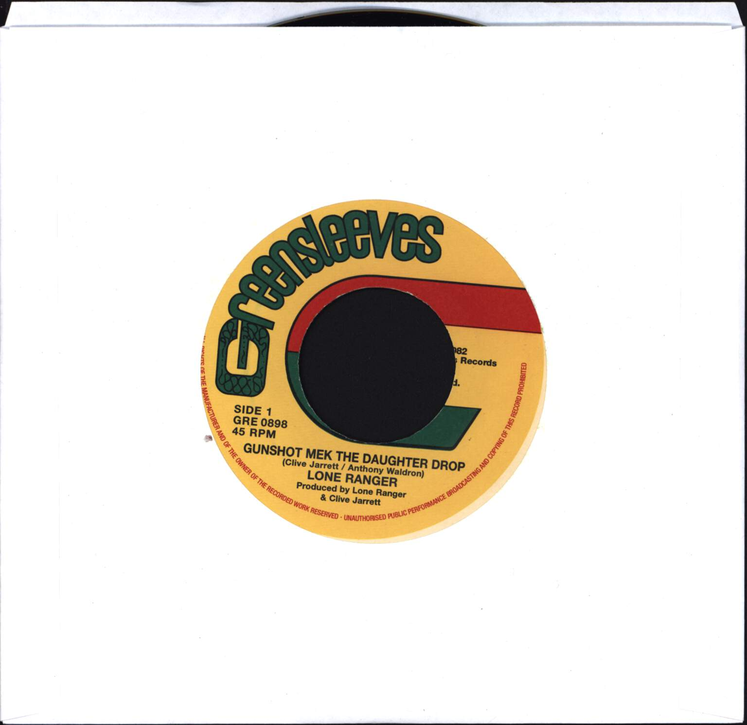 "Lone Ranger: Gunshot Mek The Daughter Drop / Legalize The National Herb, 7"" Single (Vinyl)"
