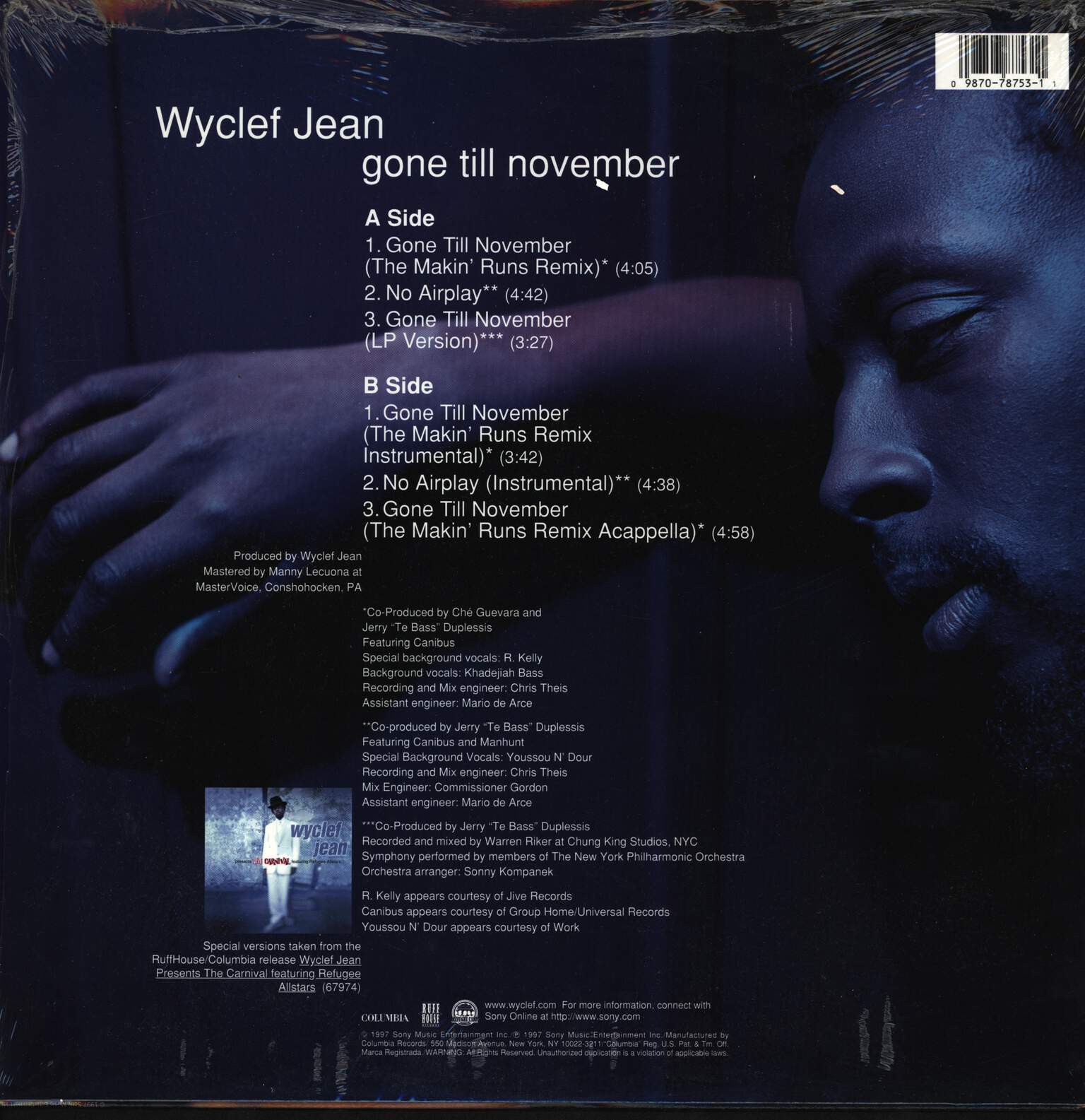 "Wyclef Jean: Gone Till November, 12"" Maxi Single (Vinyl)"