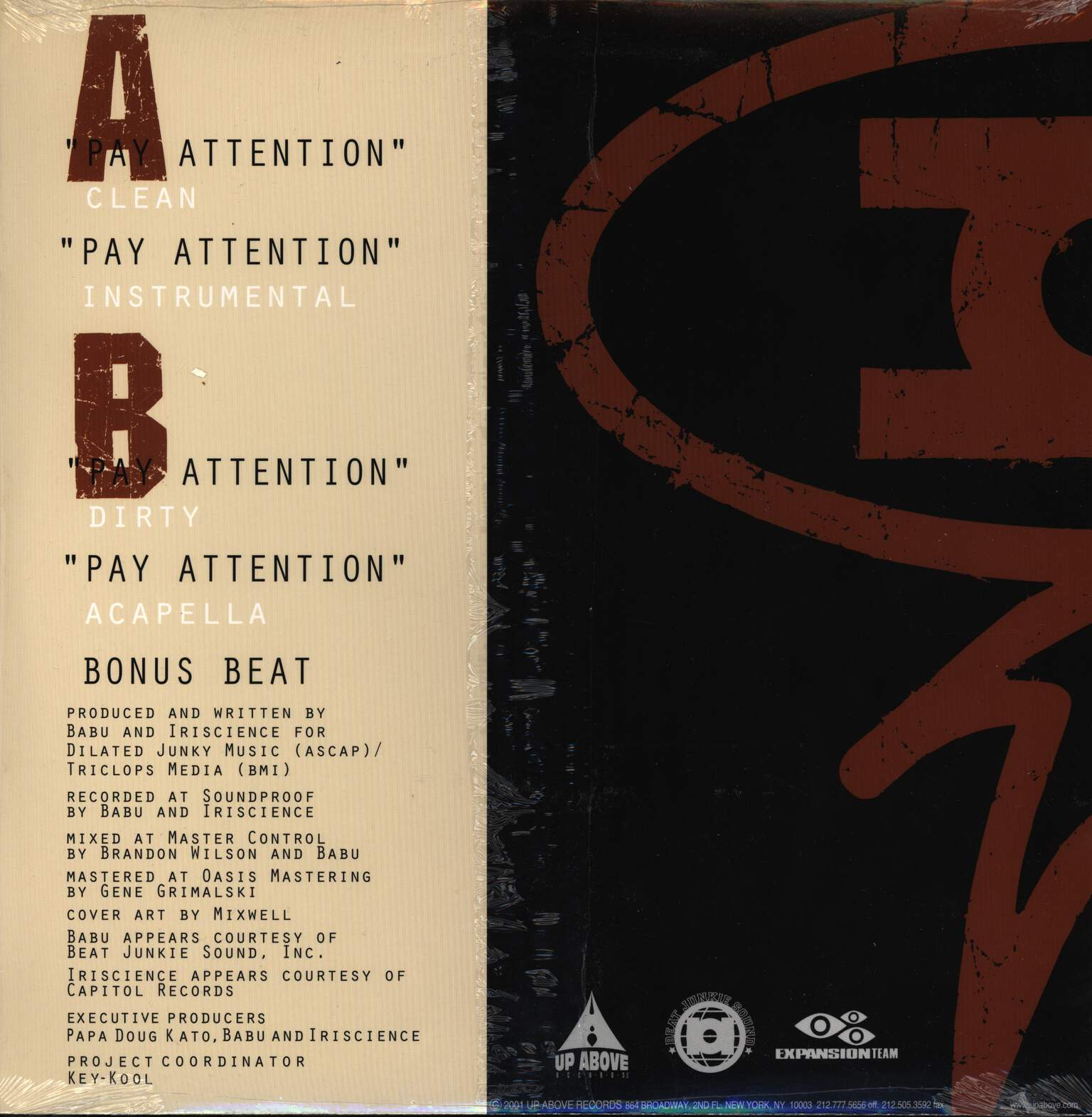 "Babu: Pay Attention, 12"" Maxi Single (Vinyl)"