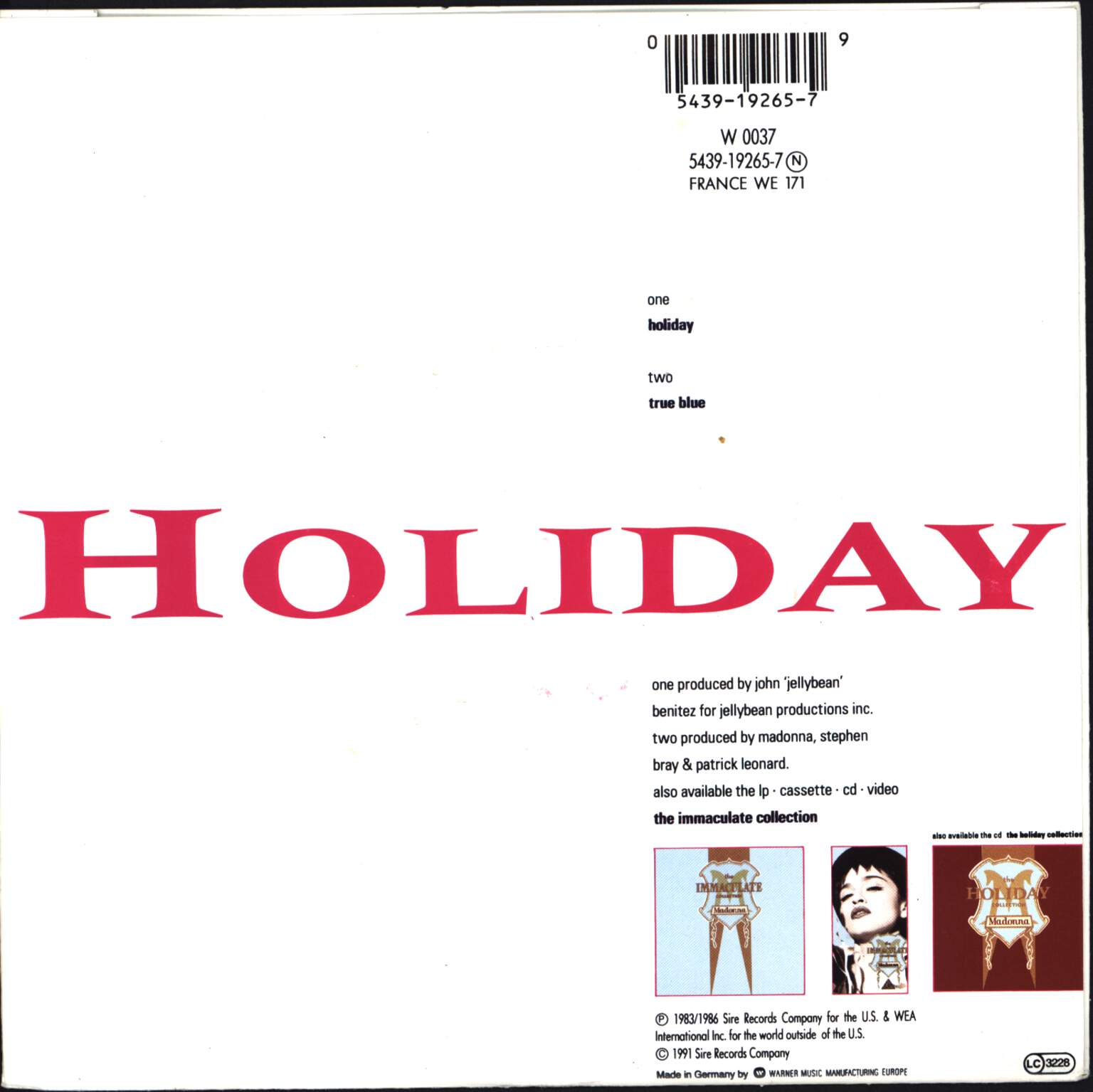 "Madonna: Holiday, 7"" Single (Vinyl)"