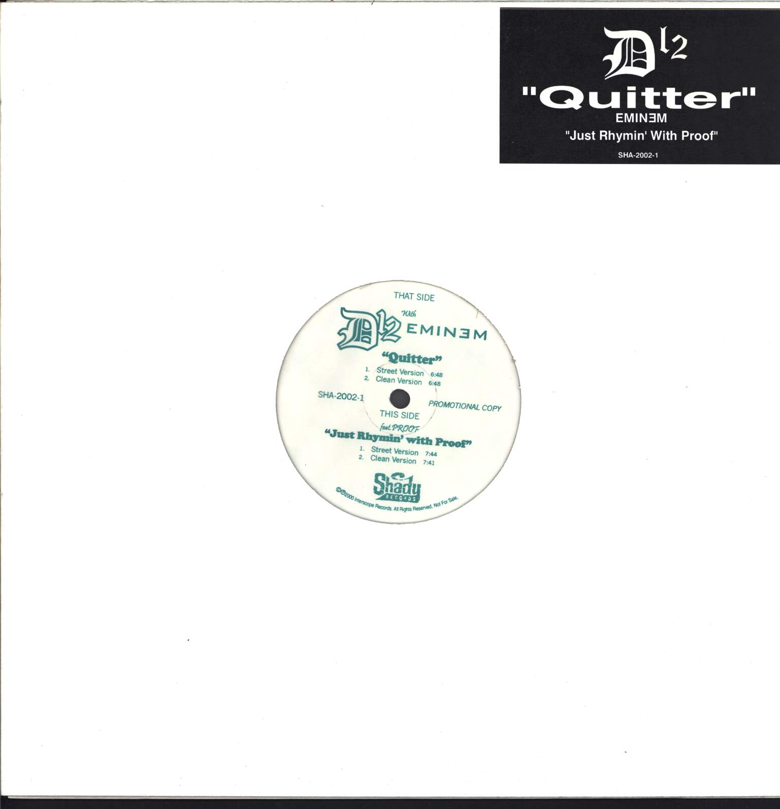 "D12: Quitter / Just Rhymin' With Proof, 12"" Maxi Single (Vinyl)"