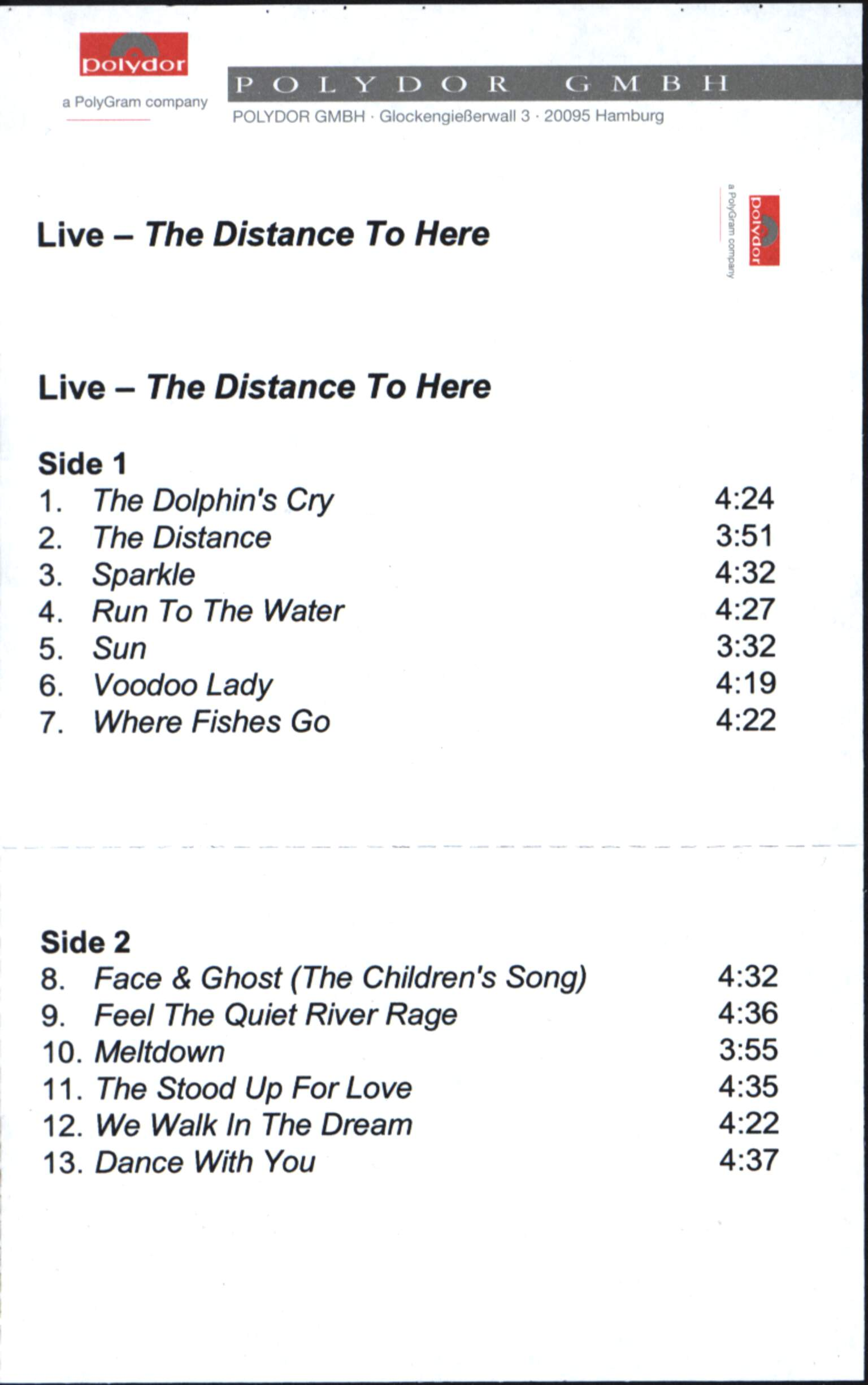 Live: The Distance To Here, Compact Cassette