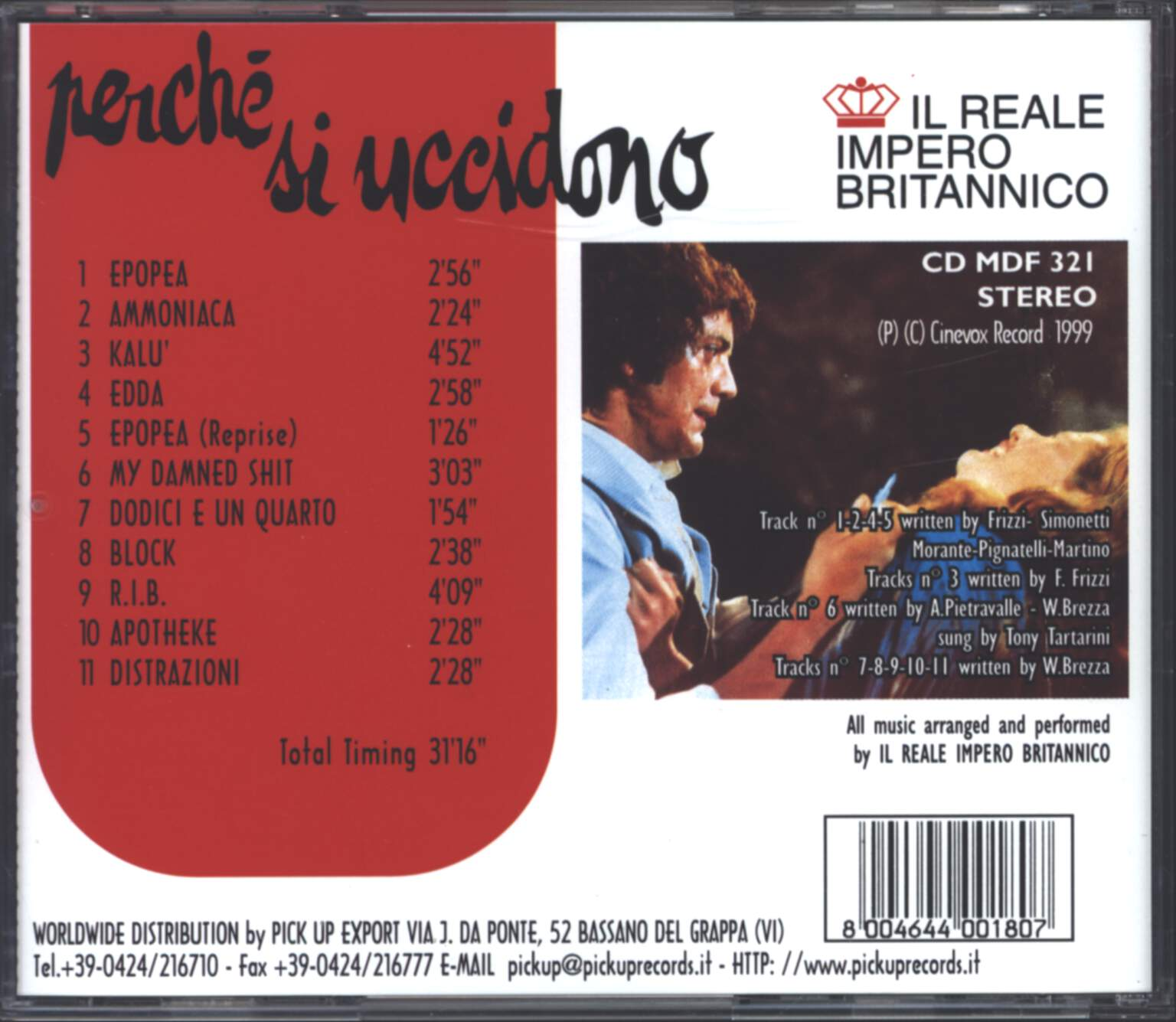 Il Reale Impero Britannico: Perché Si Uccidono (Original Motion Picture Soundtrack), CD