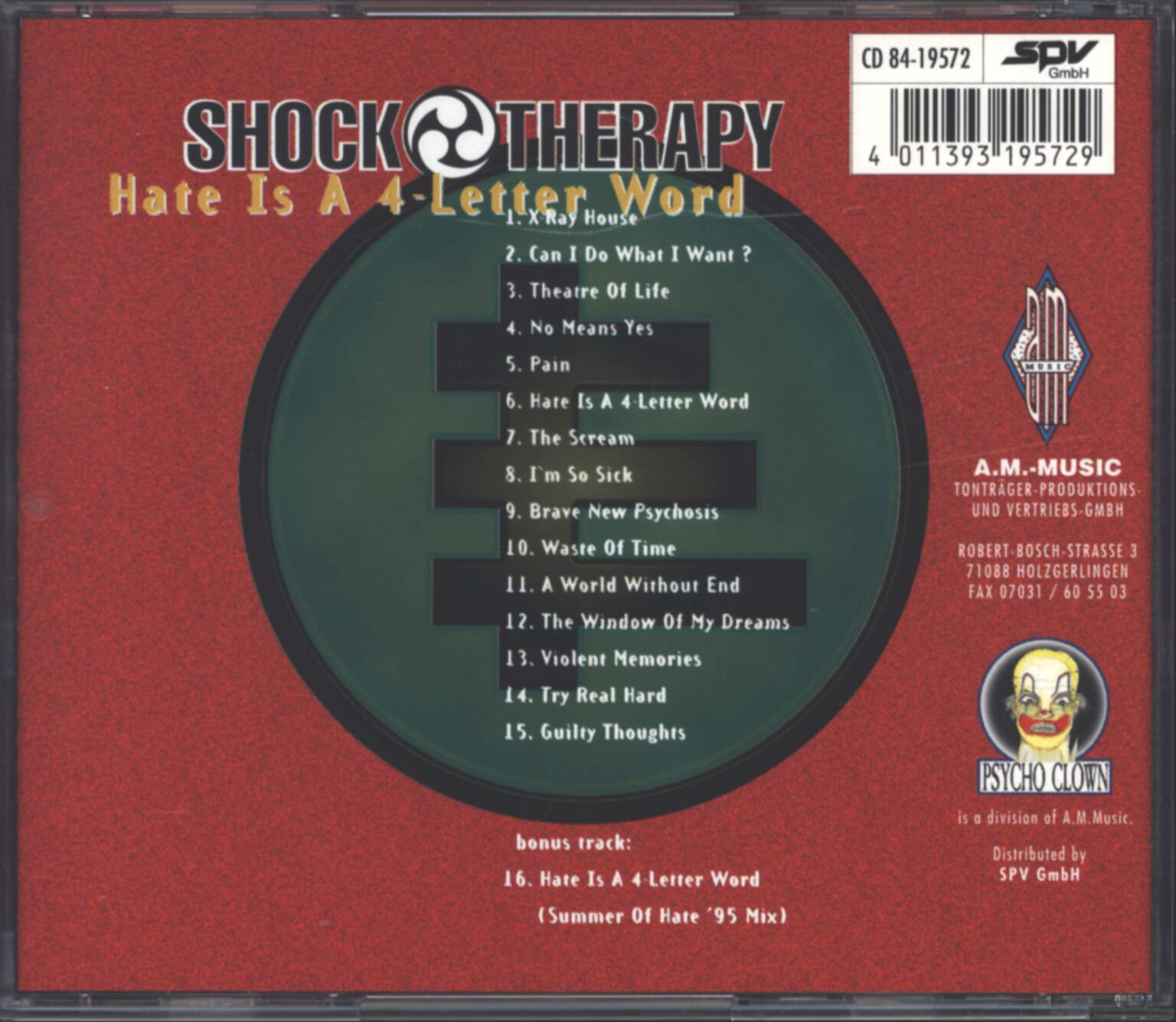 Shock Therapy: Hate Is A 4-Letter Word, CD