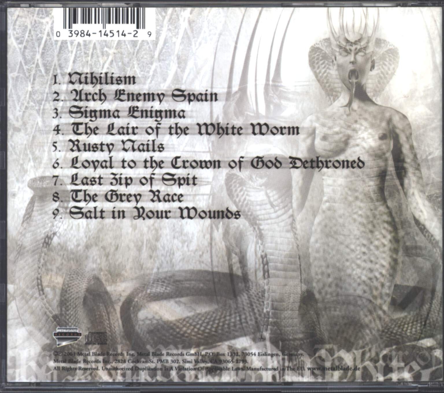God Dethroned: The Lair Of The White Worm, CD