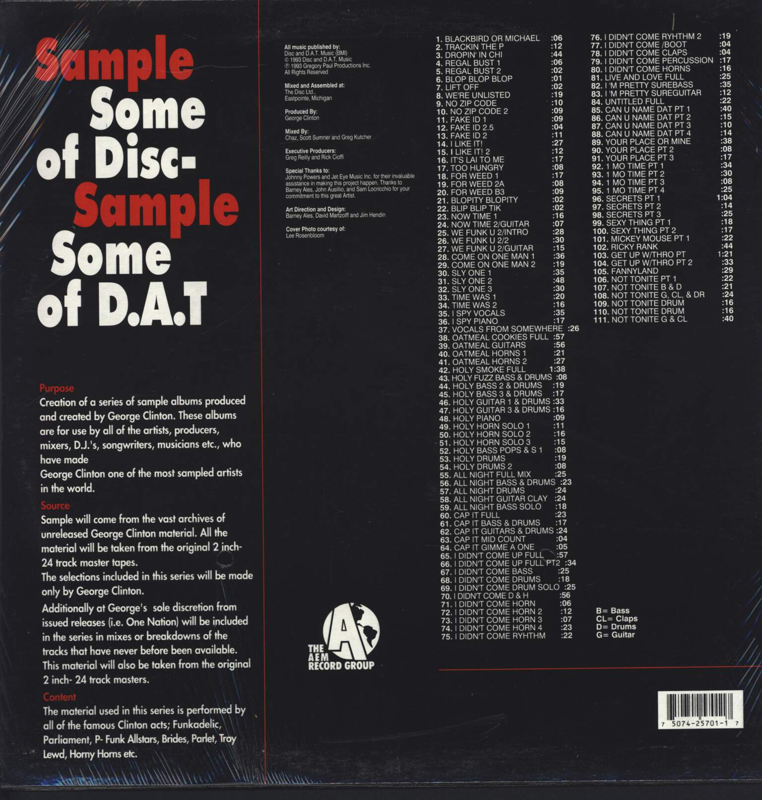 "George Clinton: Sample Some Of Disc - Sample Some Of D.A.T Volume 1, 12"" Maxi Single (Vinyl)"