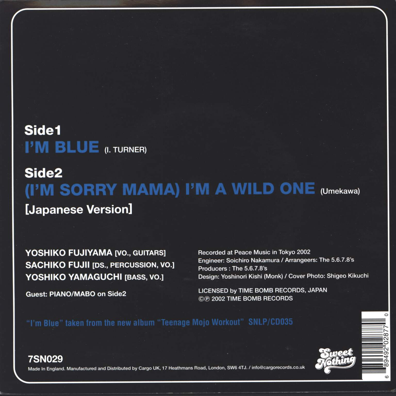 "The 5.6.7.8's: I'm Blue, 1×7"" Single (Vinyl)"