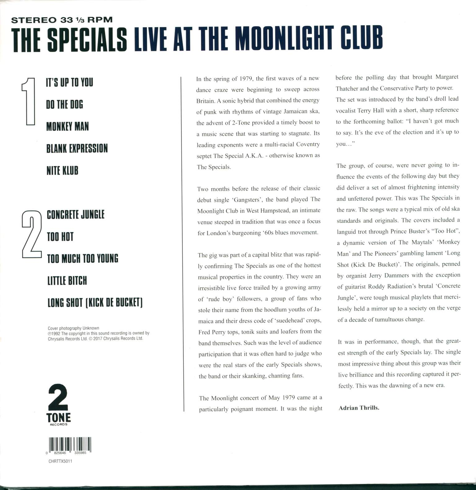 The Specials: Live At The Moonlight Club, 1×LP (Vinyl)