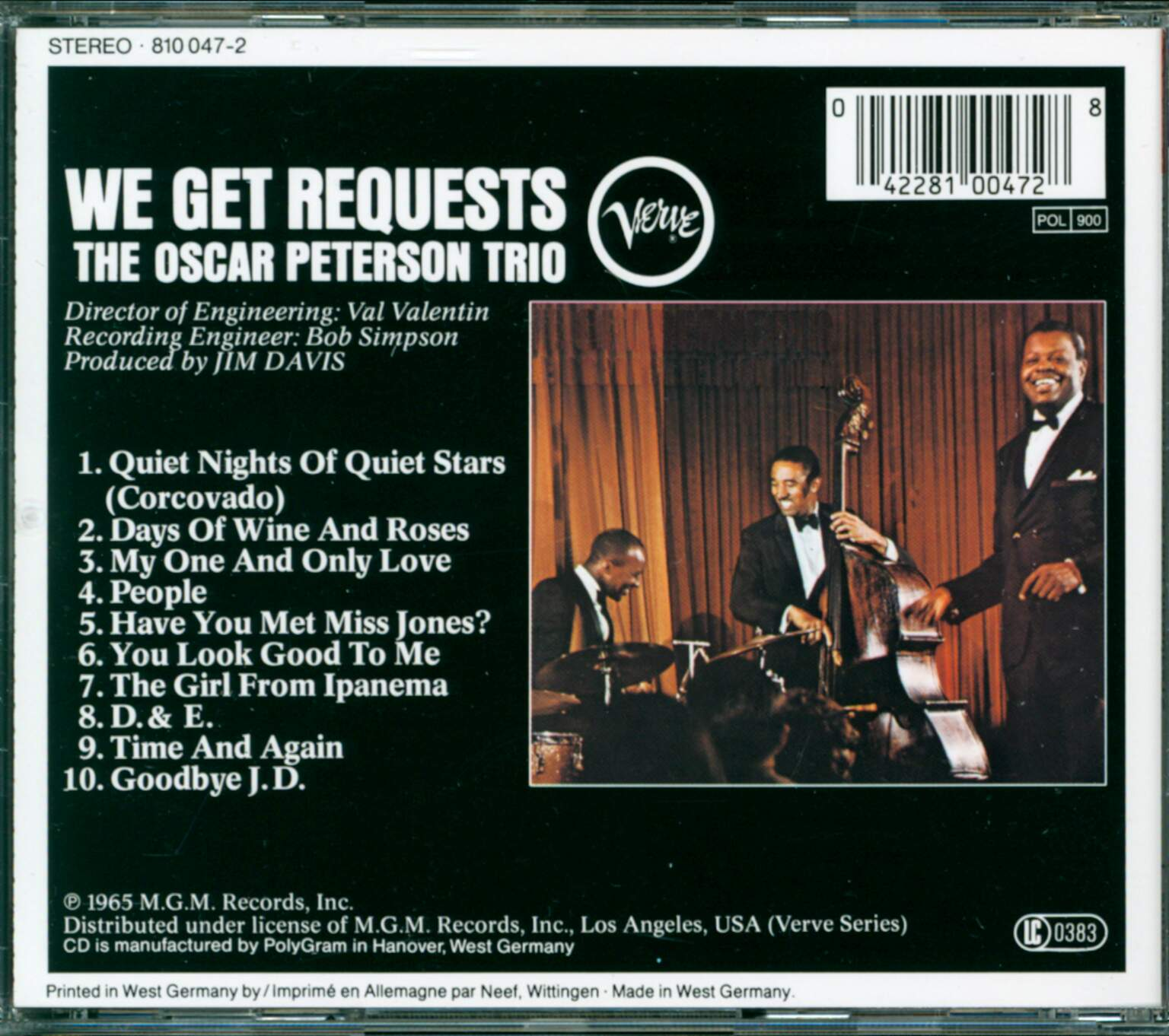 The Oscar Peterson Trio: We Get Requests, 1×CD