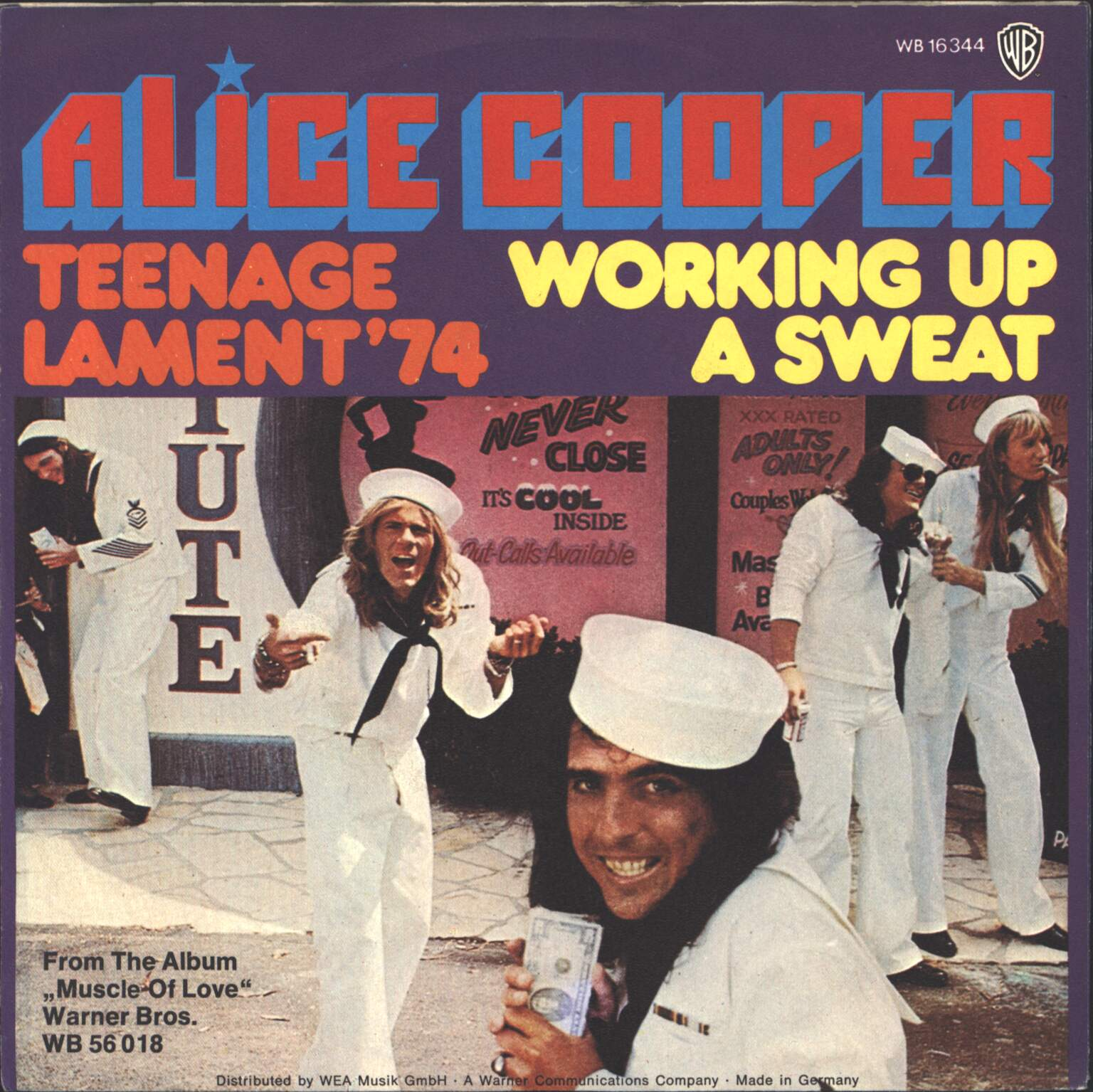 "Alice Cooper: Teenage Lament '74 / Working Up A Sweat, 1×7"" Single (Vinyl)"