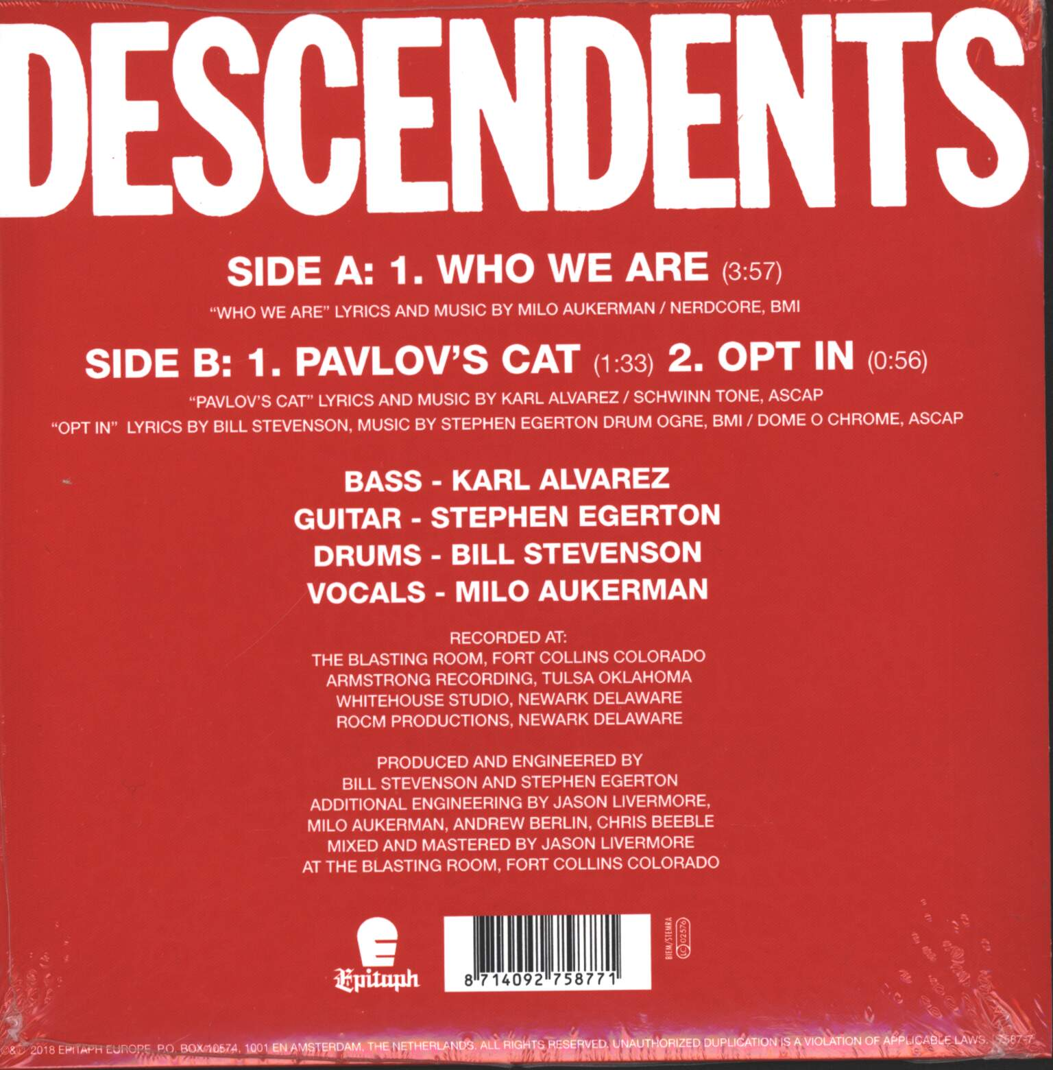 "Descendents: Who We Are, 1×7"" Single (Vinyl)"