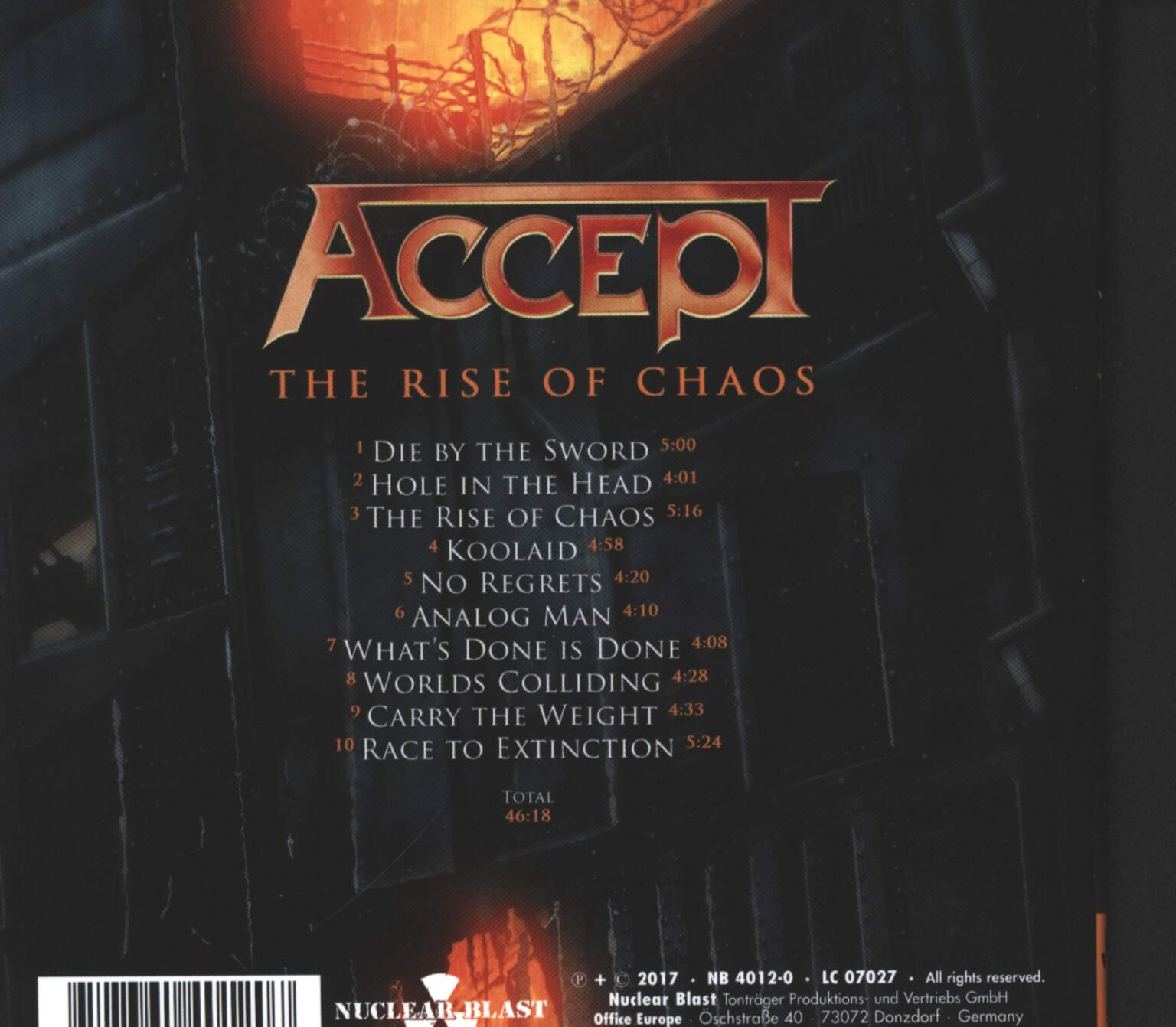 Accept: The Rise Of Chaos, 1×CD