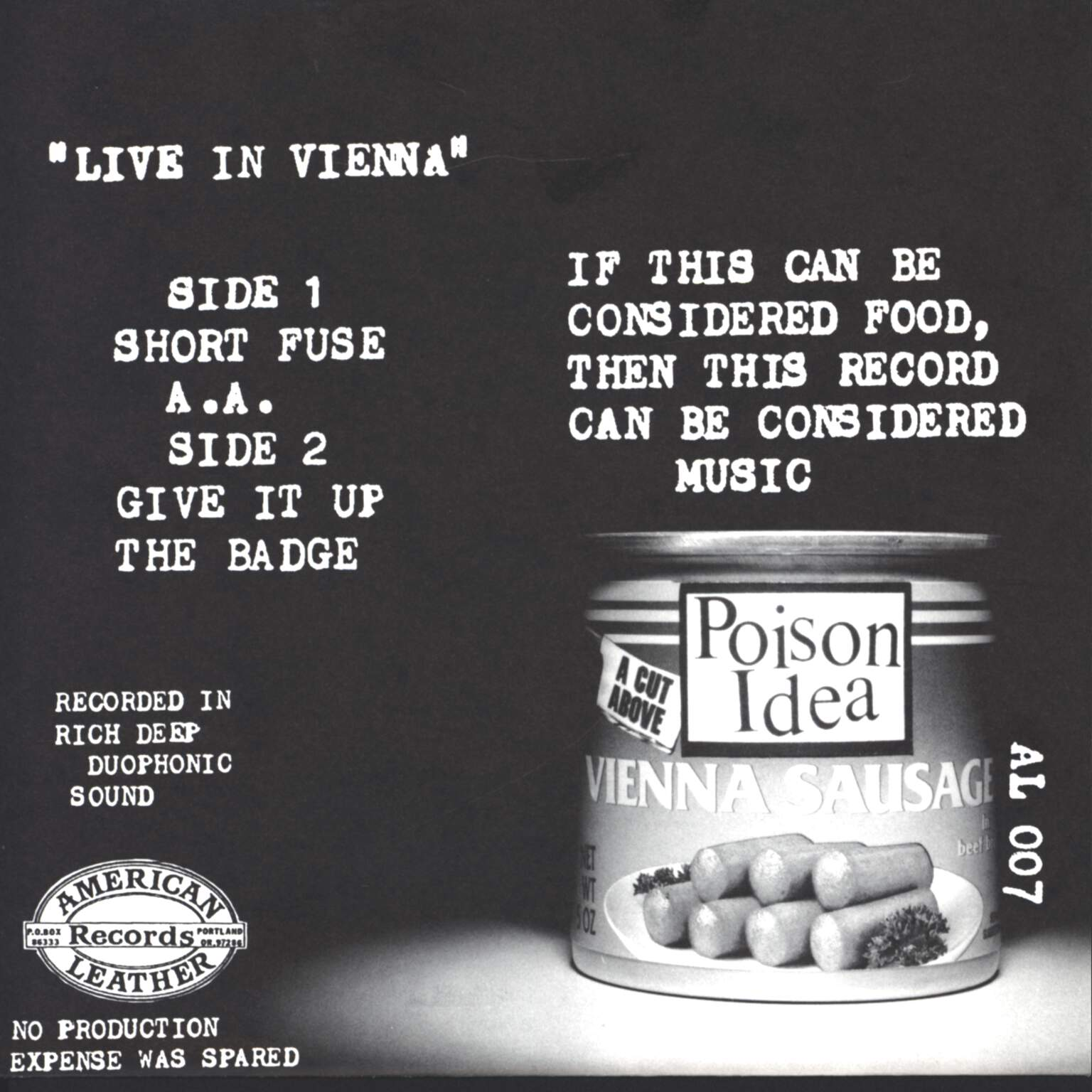 "Poison Idea: Live In Vienna, 7"" Single (Vinyl)"