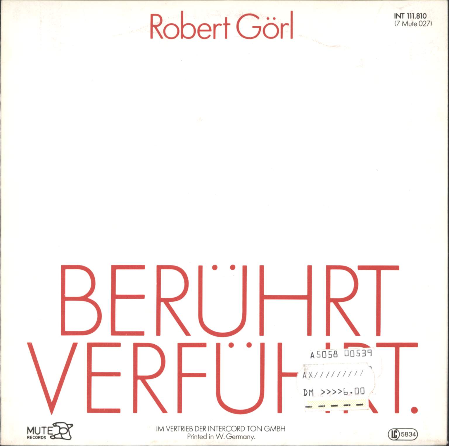 "Robert Görl: Mit Dir, 7"" Single (Vinyl)"