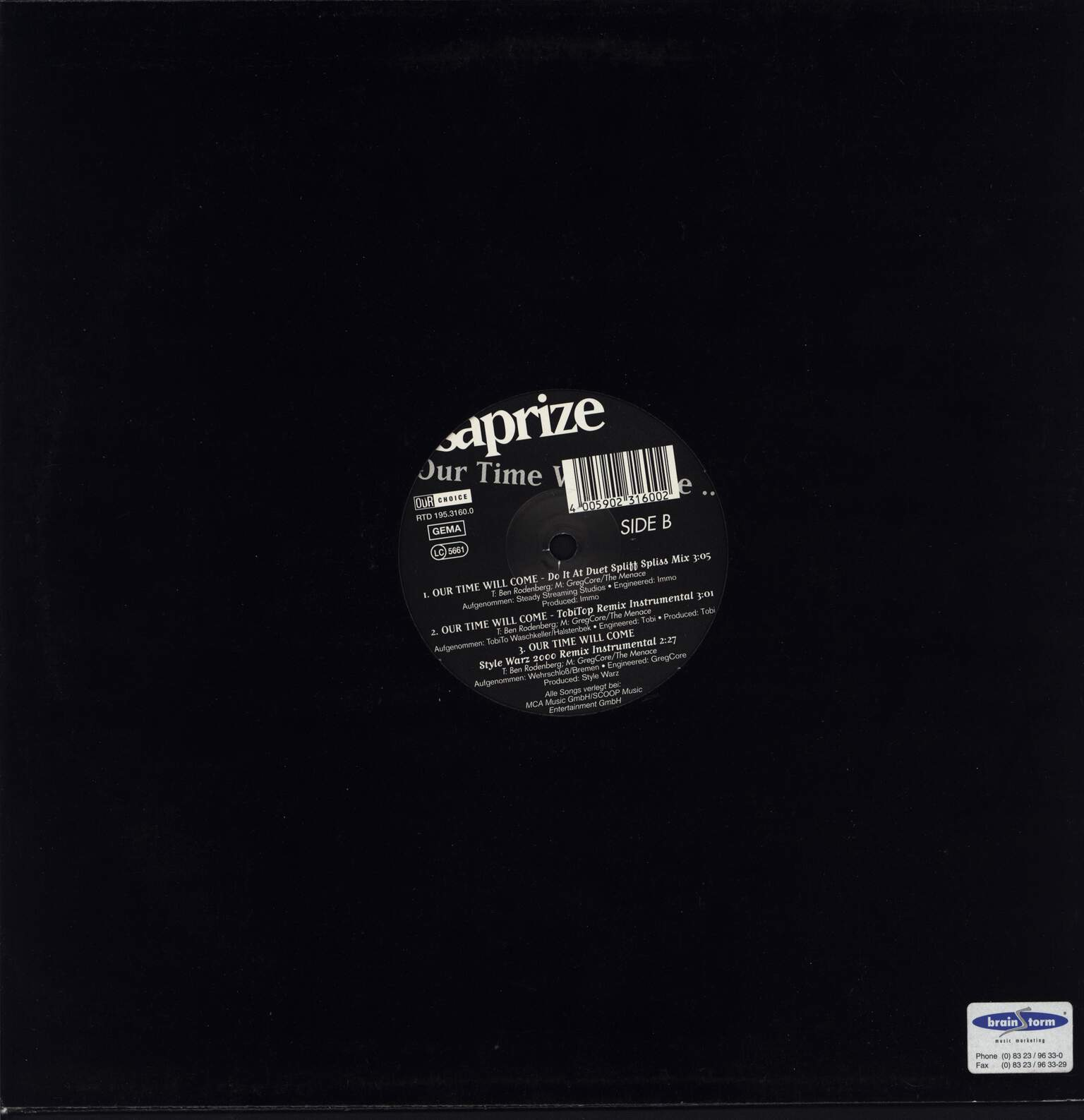 "Saprize: Our Time Will Come ..., 12"" Maxi Single (Vinyl)"
