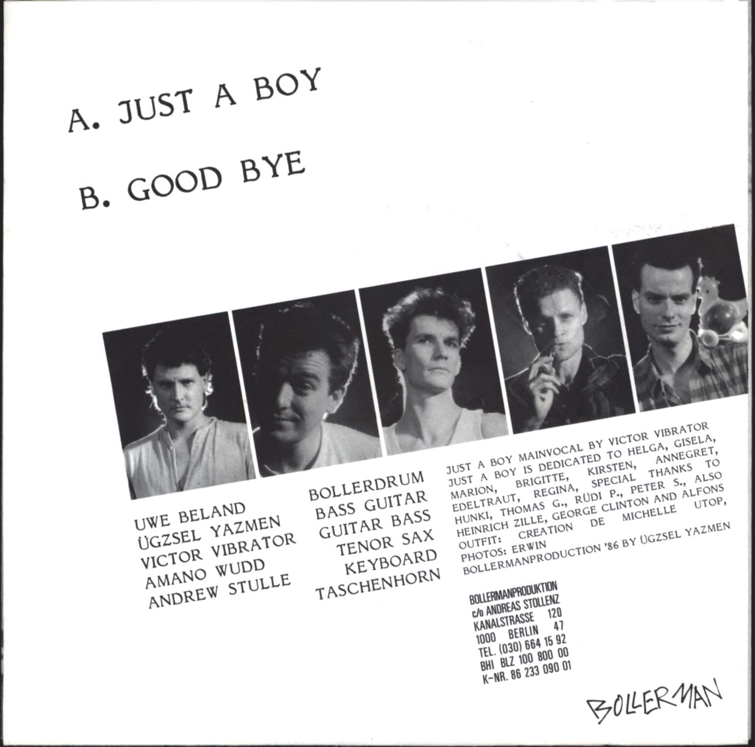 "Bollerman: Just A Boy / Good Bye, 7"" Single (Vinyl)"