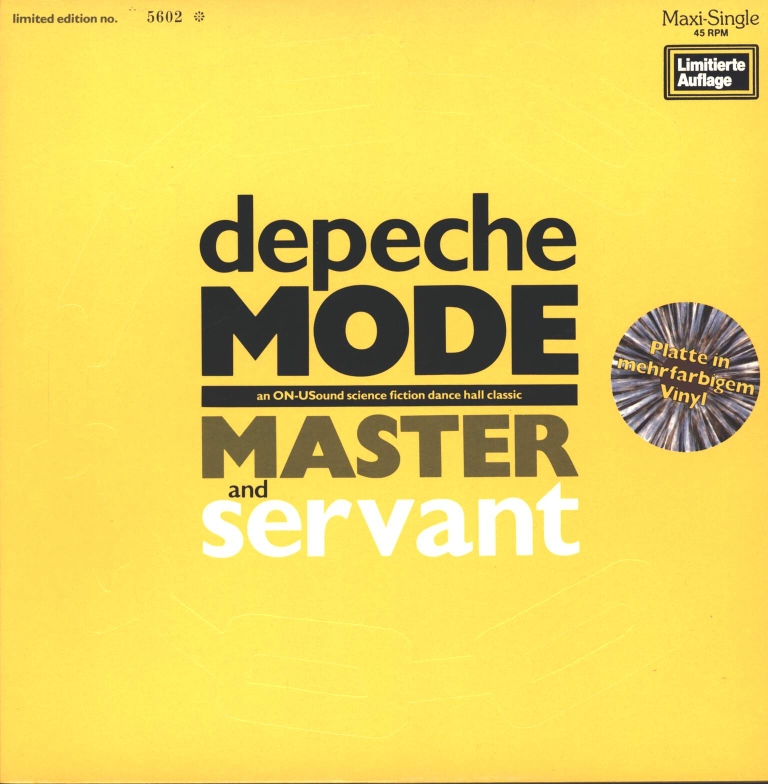 "Depeche Mode: Master And Servant (An ON-USound Science Fiction Dance Hall Classic), 12"" Maxi Single (Vinyl)"