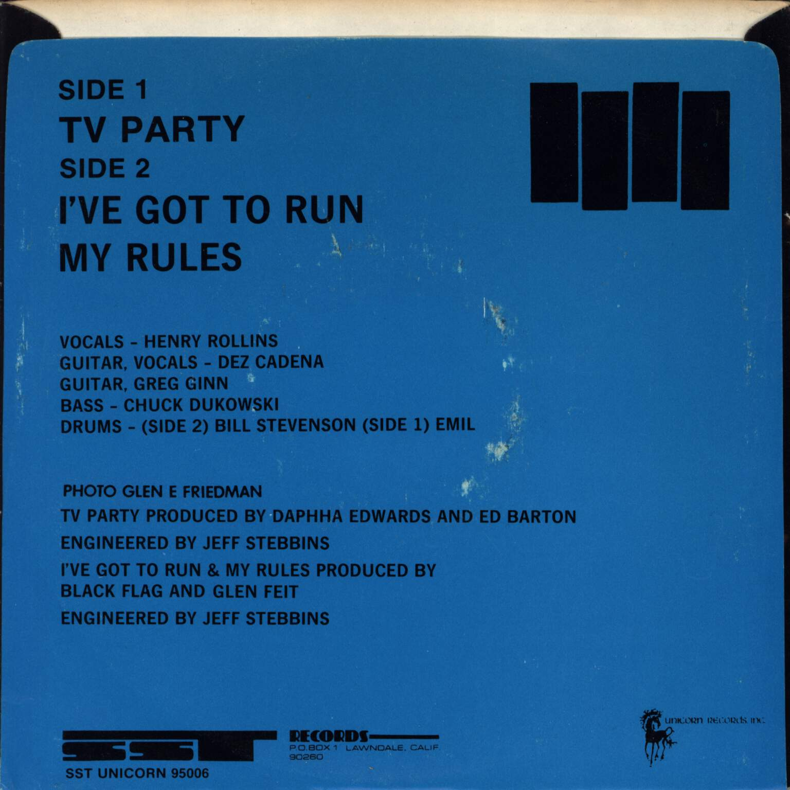 "Black Flag: TV Party, 7"" Single (Vinyl)"
