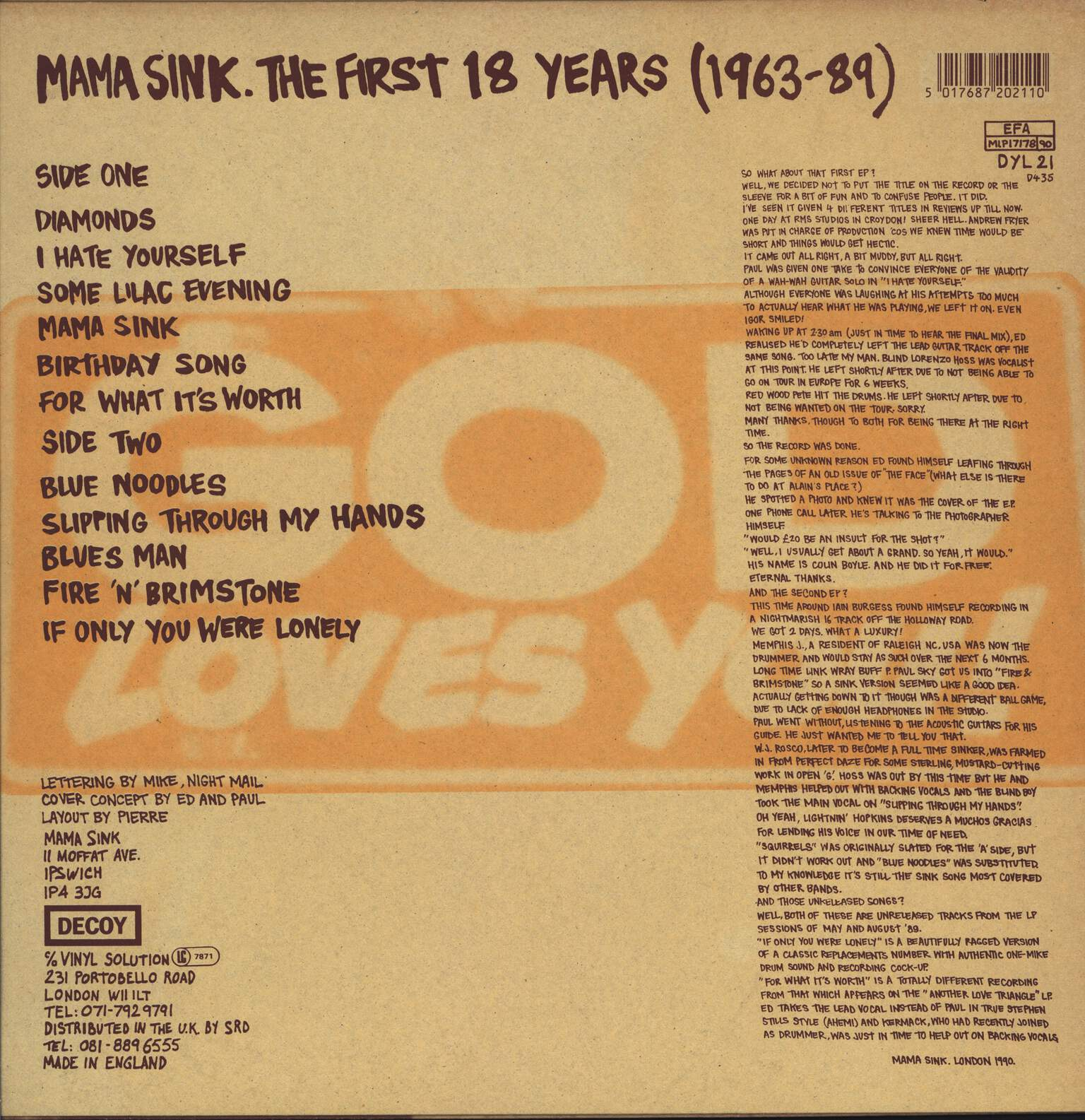 Sink: Mama Sink. The First 18 Years (1963-89), LP (Vinyl)