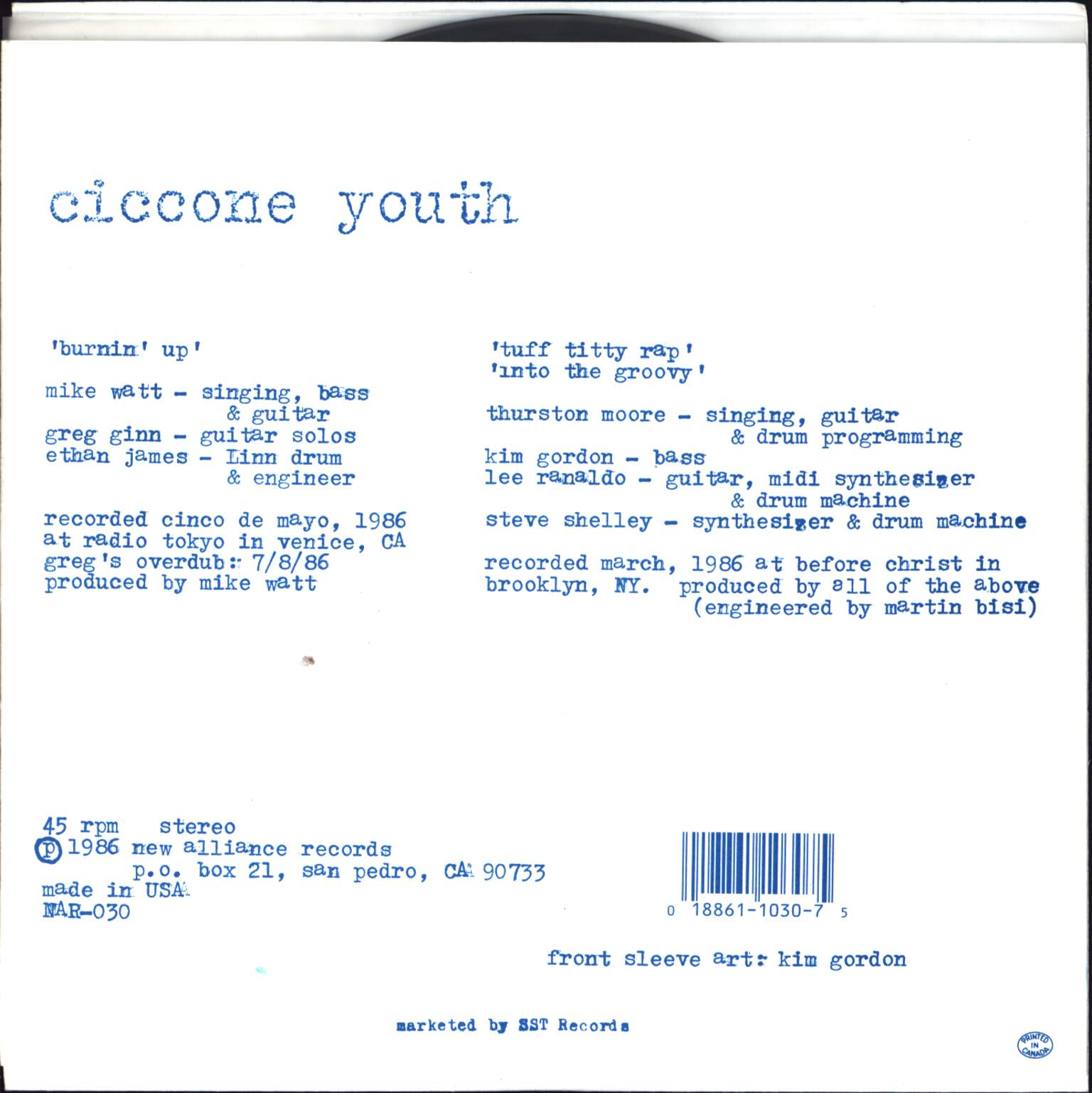 "Ciccone Youth: Burnin' Up, 7"" Single (Vinyl)"