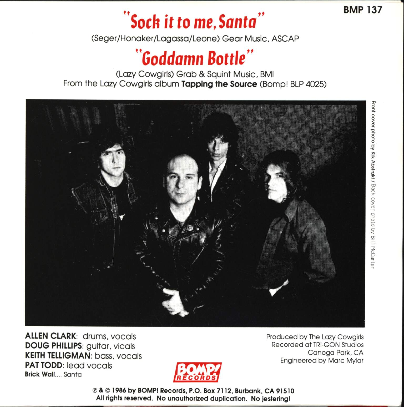 "Lazy Cowgirls: Sock It To Me, Santa / Goddamn Bottle, 7"" Single (Vinyl)"