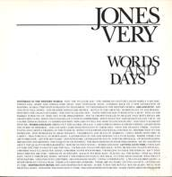 Jones Very: Words And Days