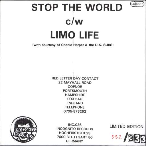 "Red Letter Day: Stop The World, 7"" Single (Vinyl)"