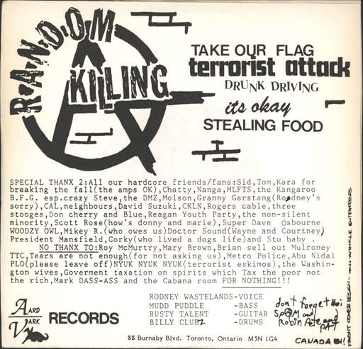 "Random Killing: Take Our Flag, 7"" Single (Vinyl)"